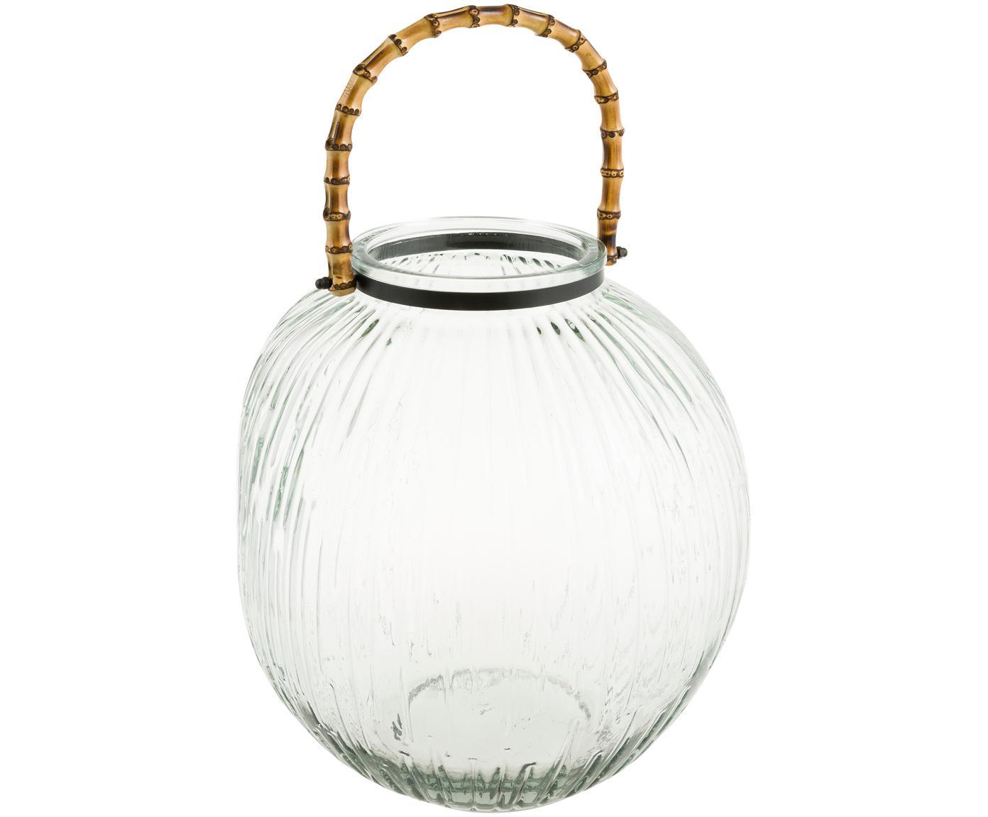Portavelas Hyde, Portavelas: vidrio, Fijación: metal, recubierto, Asa: bambú, Transparente, marrón, Ø 28 x Al 32 cm