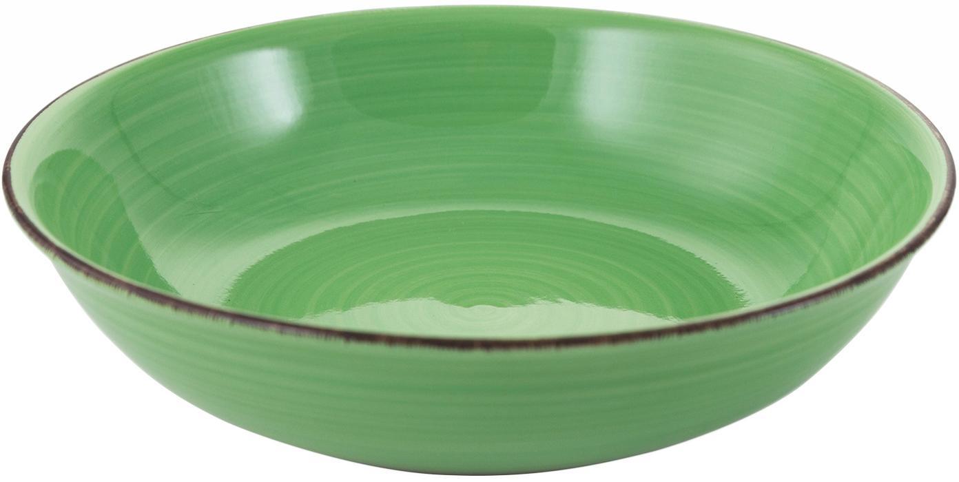 Ensaladera artesanal Baita, Gres (dolomita) pintadoamano, Verde, Ø 29 x Al 7 cm