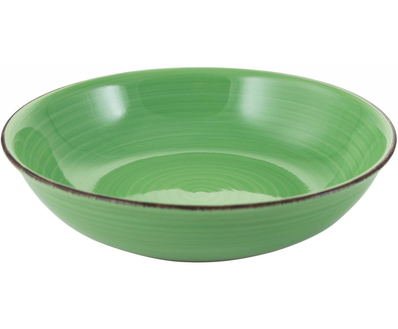 Kom Baita, Handbeschilderde keramiek, Groen, Ø 29 x H 7 cm