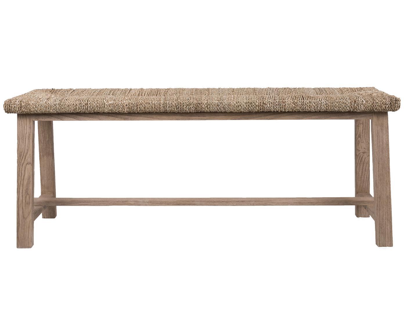 Ławka Thuille, Stelaż: lite drewno dębowe, piask, Drewno dębowe, beżowy, S 124 x W 51 cm
