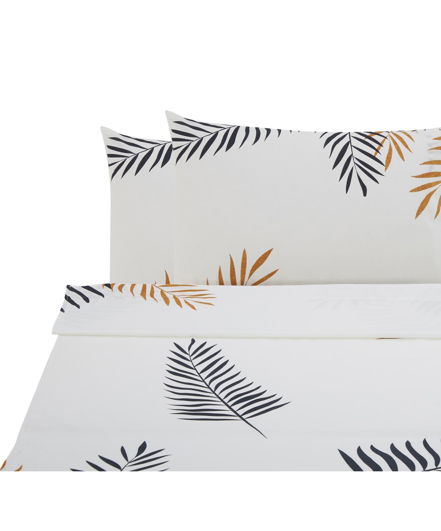 Set lenzuola in cotone ranforce Foliage 3 pz, Tessuto: Renforcé, Bianco, giallo ocra, nero, 240 x 270 cm