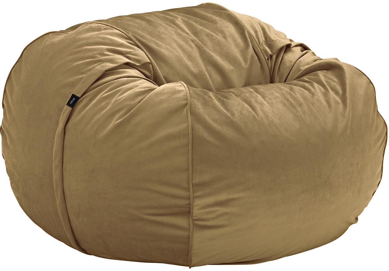 Samt-Sitzsack Velvet, Bezug: Polyestersamt 30.000 Sche, Karamellfarben, Ø 110 x H 70 cm