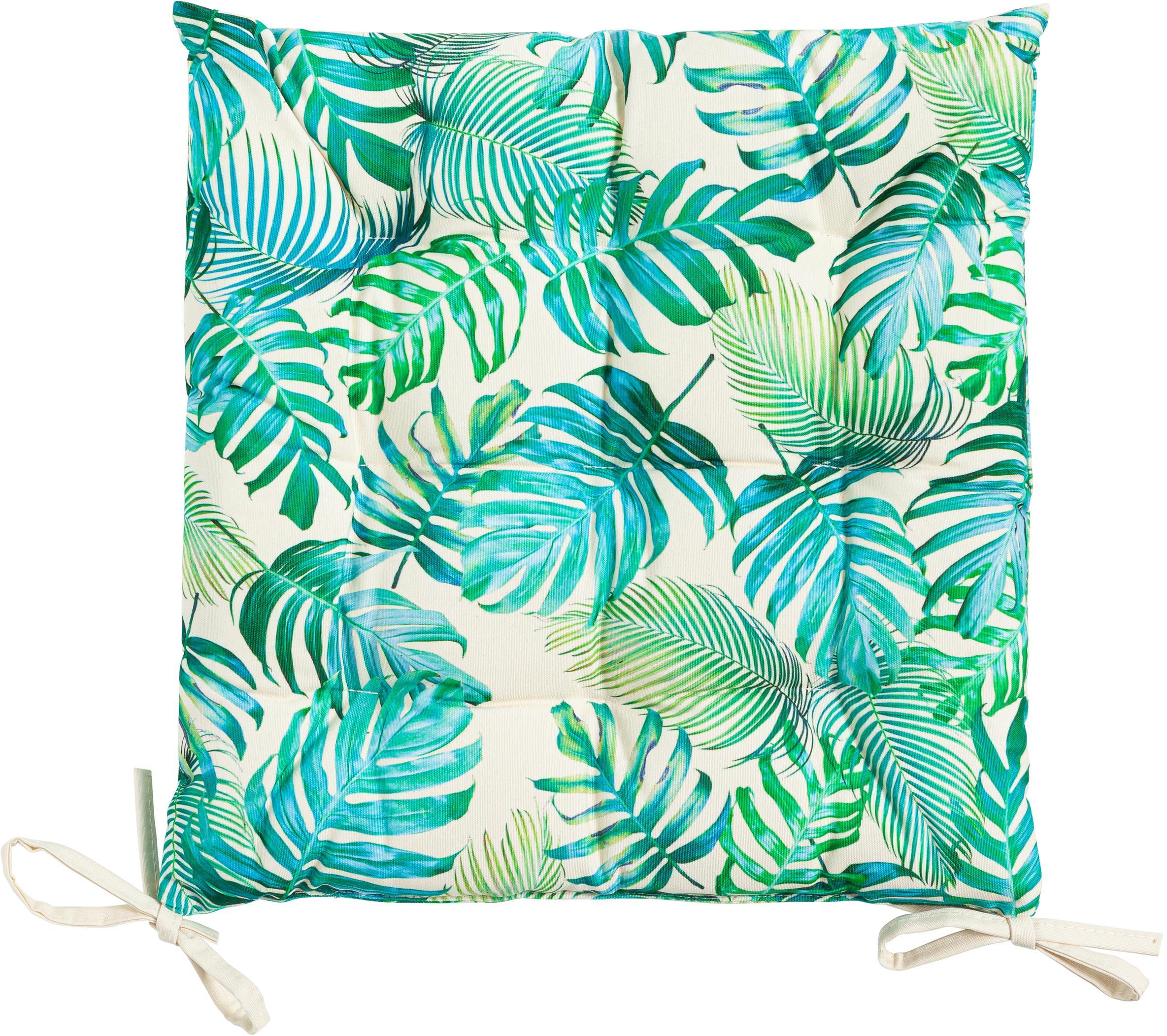 Cuscino sedia da esterno con motivo a foglie Madeira, 100% poliestere, Bianco latteo, tonalità blu, verde, Larg. 40 x Lung. 40 cm