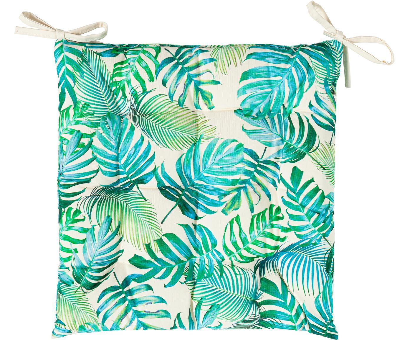 Outdoor-Sitzkissen Madeira mit Blattmuster, 100% Polyester, Gebrochenes Weiß, Blautöne, Grüntöne, 40 x 40 cm