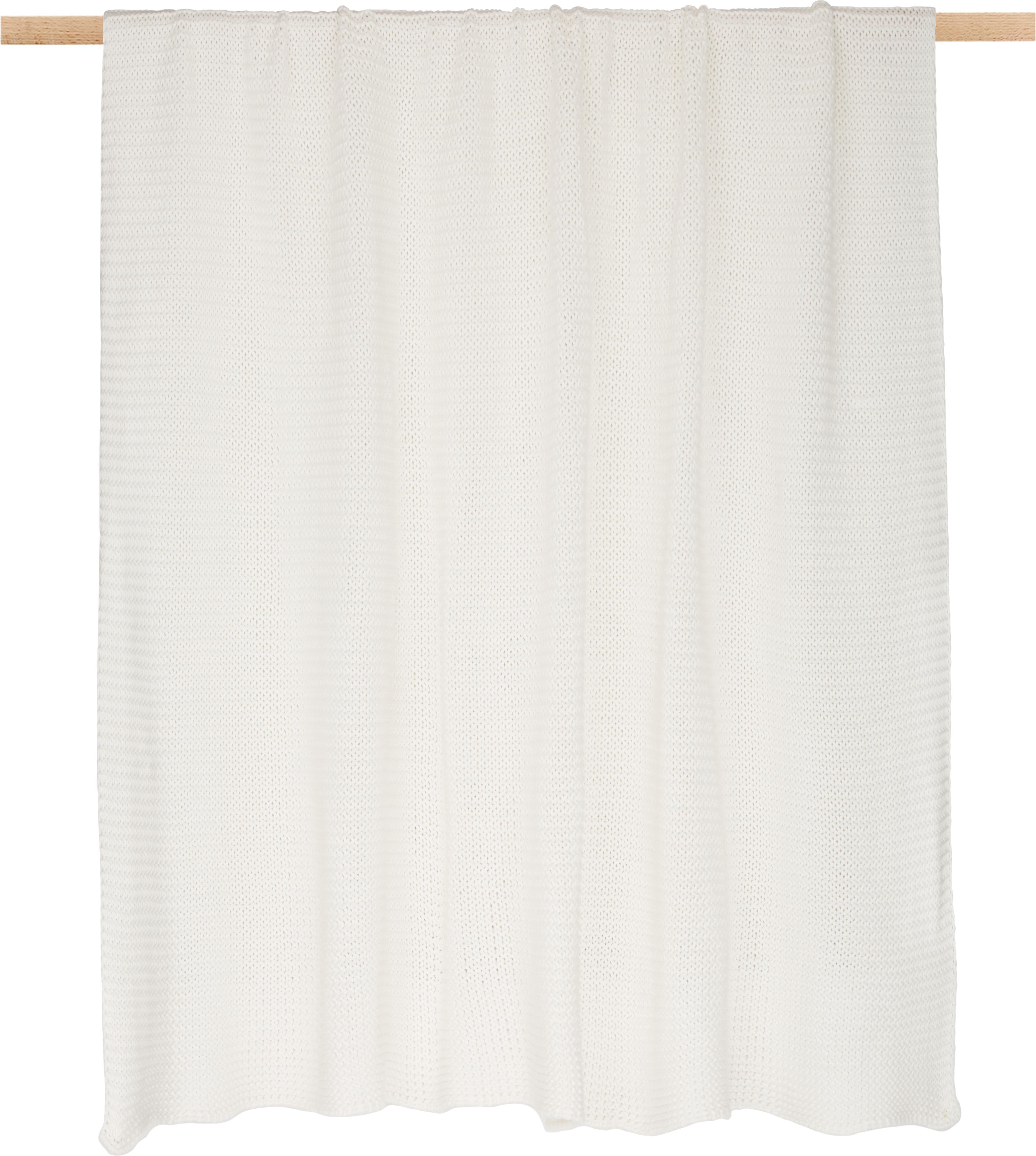 Plaid fatto a maglia Adalyn, 100% cotone, Bianco naturale, Larg. 150 x Lung. 200 cm