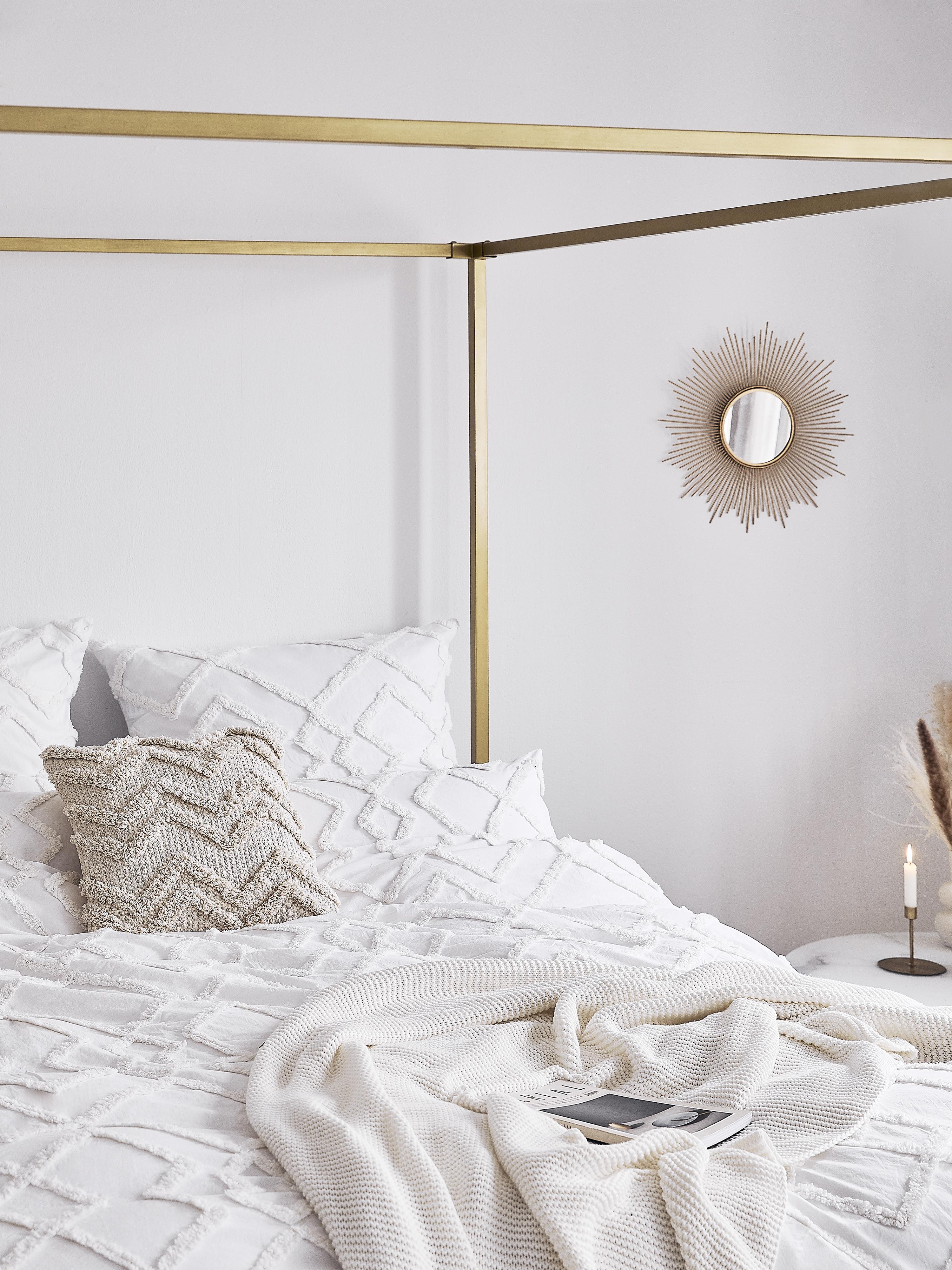 Manta de punto Adalyn, 100%algodón, Blanco natural, An 150 x L 200 cm