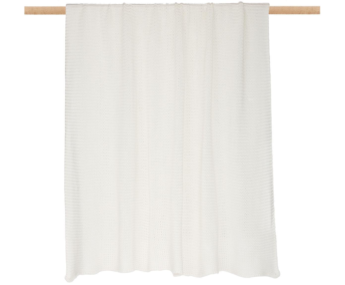 Strick-Plaid Adalyn, 100% Baumwolle, Naturweiß, 150 x 200 cm