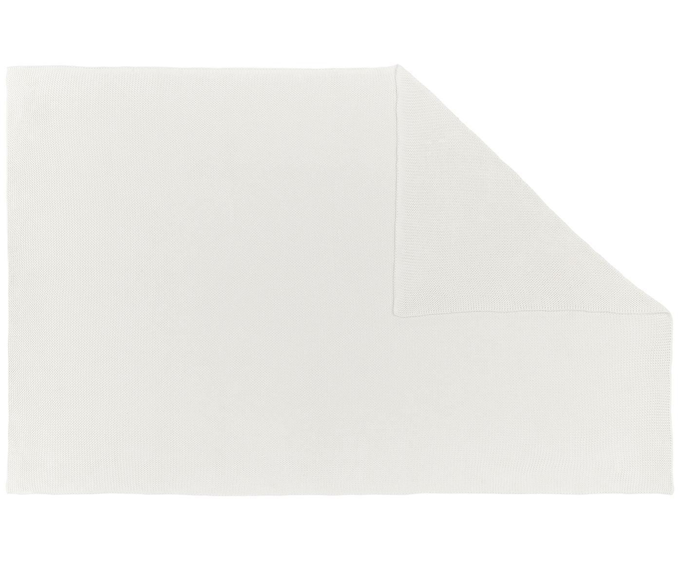 Pled z dzianiny Adalyn, 100% bawełna, Naturalny biały, S 150 x D 200 cm