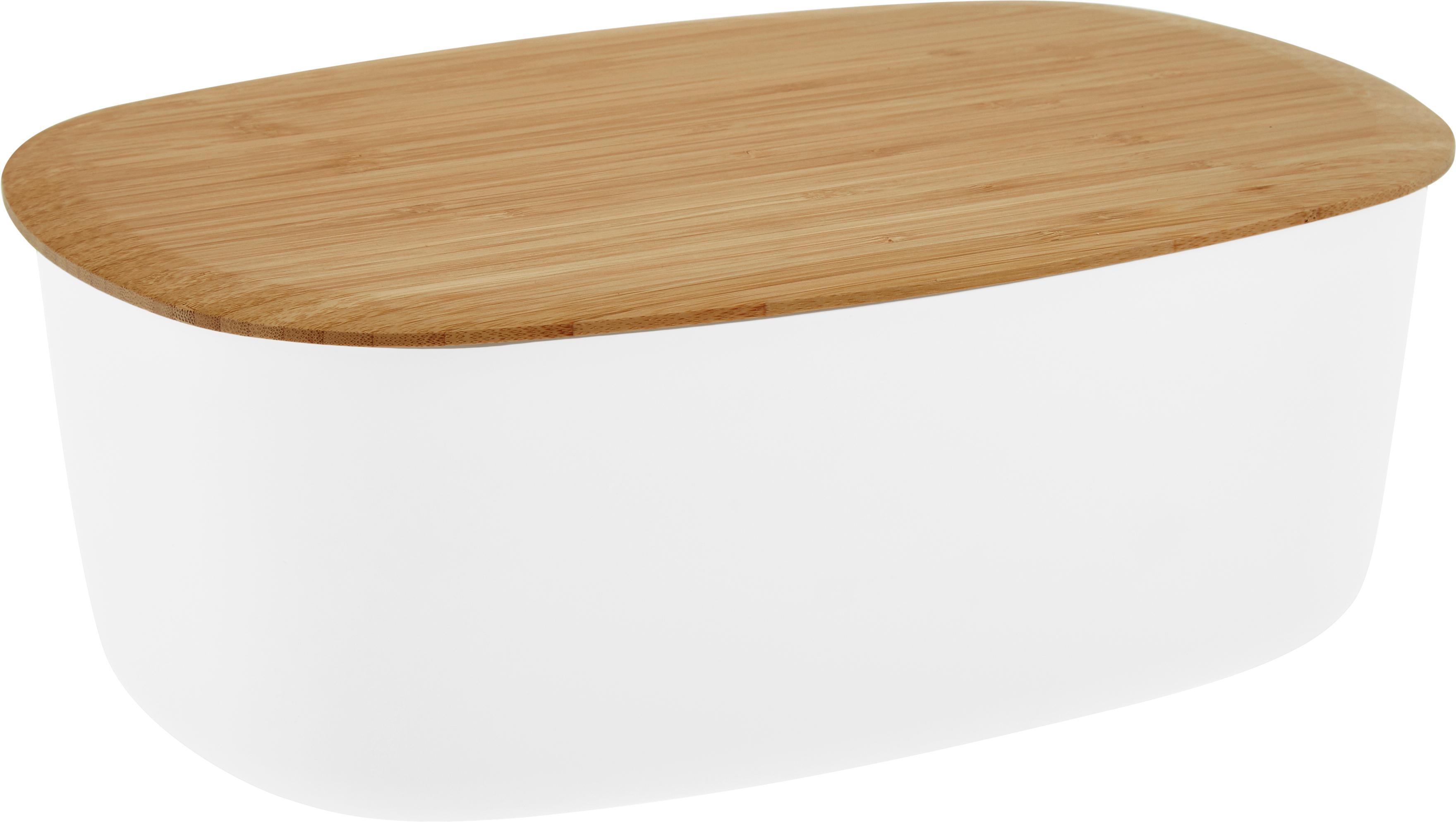 Designer Brotkasten Box-It mit Bambusdeckel, Melamin, Bambus, Dose: Weiss<br>Deckel: Braun, 35 x 12 cm