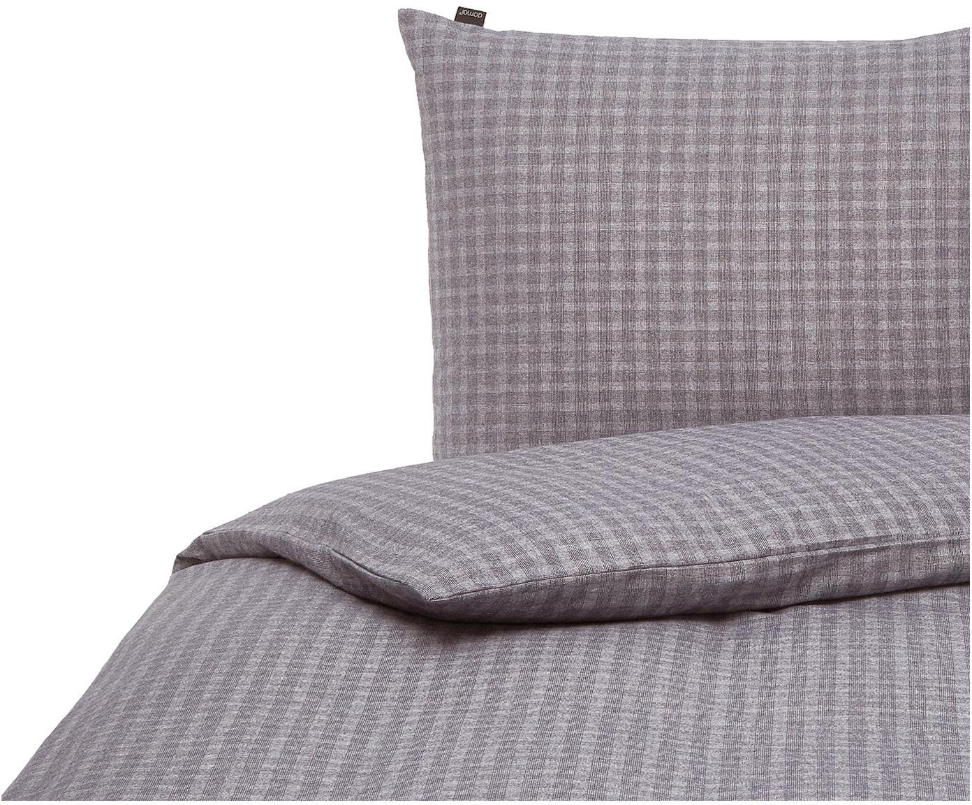 Flanell-Bettwäsche Pitch, kariert, Webart: Flanell Flanell ist ein s, Anthrazit, Grau, 135 x 200 cm + 1 Kissen 80 x 80 cm