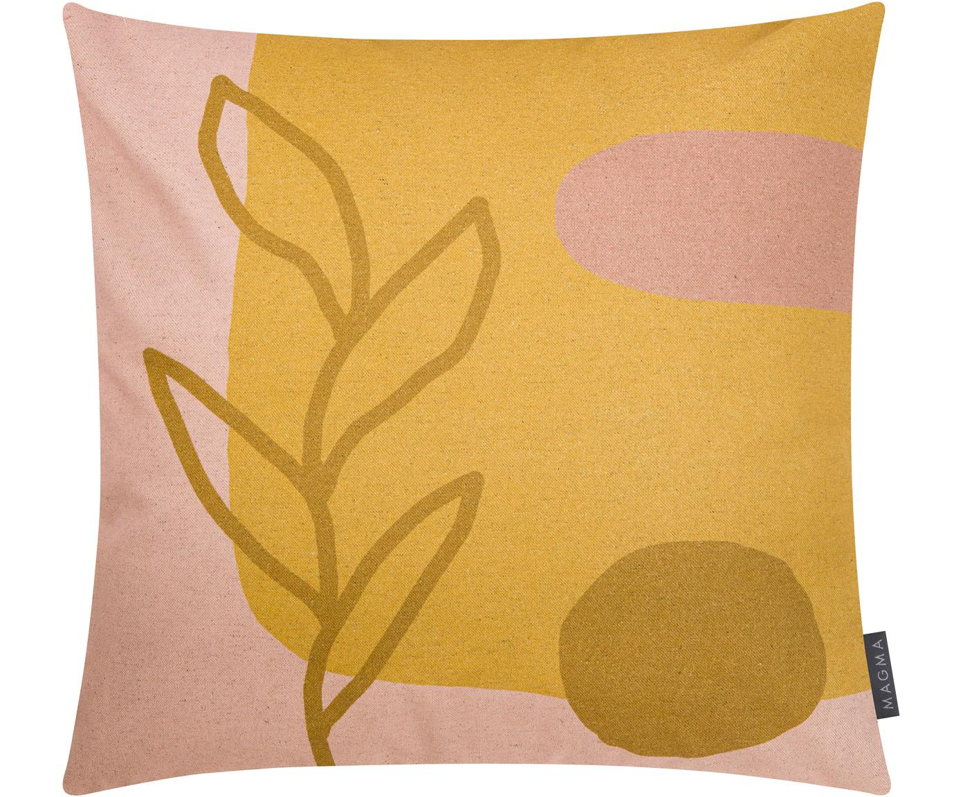 Wendekissenhülle Images mit abstraktem Motiv, 85% Baumwolle, 15% Leinen, Gelb, Rosa, Hellbraun, 50 x 50 cm