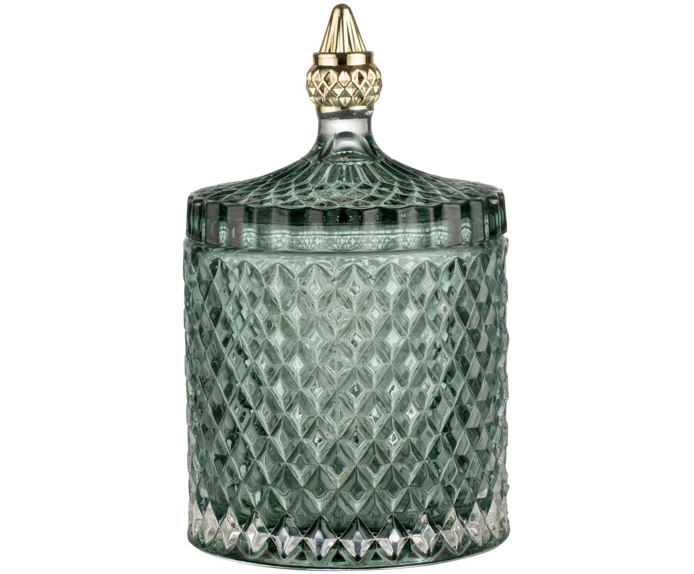Opbergpot Miya, Glas, Groen, Ø 11 x H 18 cm