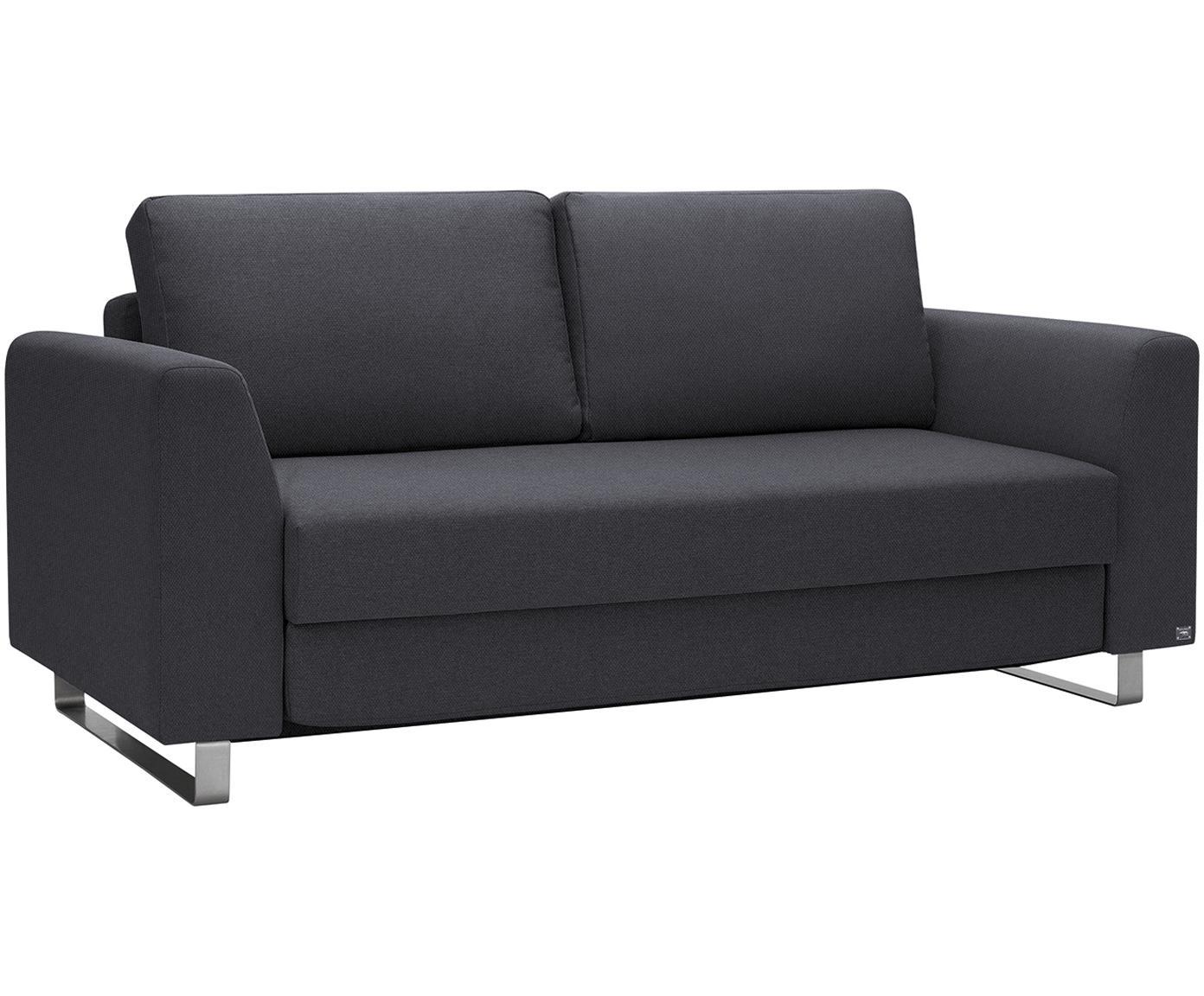 Schlafsofa Bruno (3-Sitzer), Bezug: Pflegeleichtes robustes P, Rahmen: Massivholz, Webstoff Anthrazit, B 200 x T 84 cm