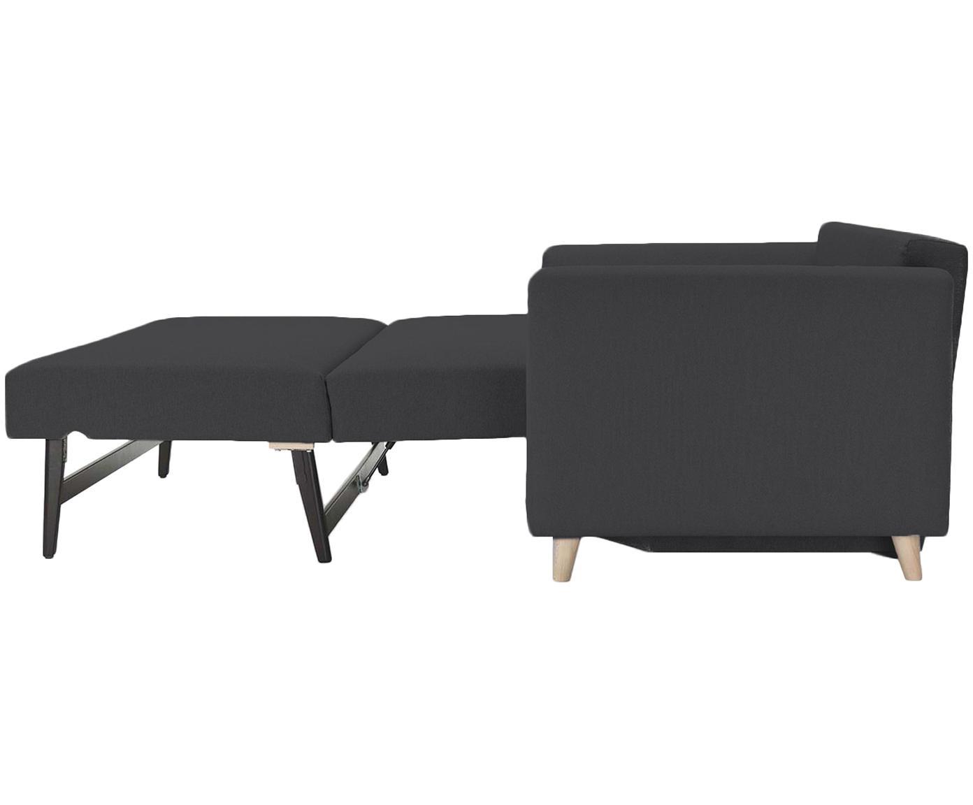 Schlafsofa Bruno (3-Sitzer), Bezug: Pflegeleichtes robustes P, Rahmen: Massivholz, Füße: Gebürstetes Metall oder B, Webstoff Anthrazit, B 200 x T 84 cm