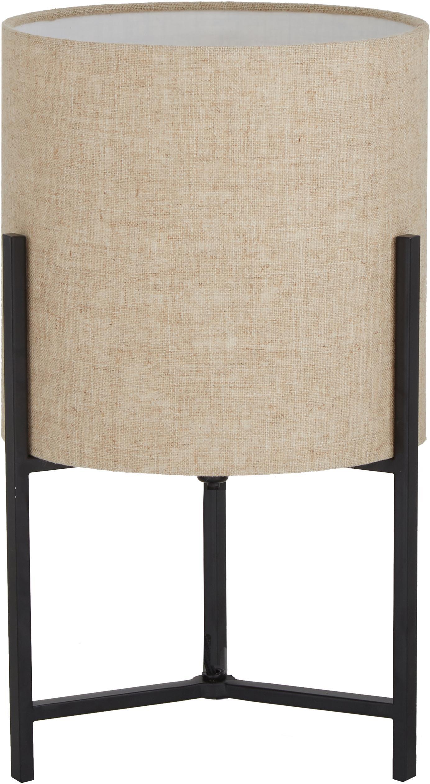 Tafellamp Piper van linnen, Lampenkap: 85% linnen, 15% teryleen, Lampvoet: gepoedercoat metaal, Beige, Ø 22 x H 38 cm