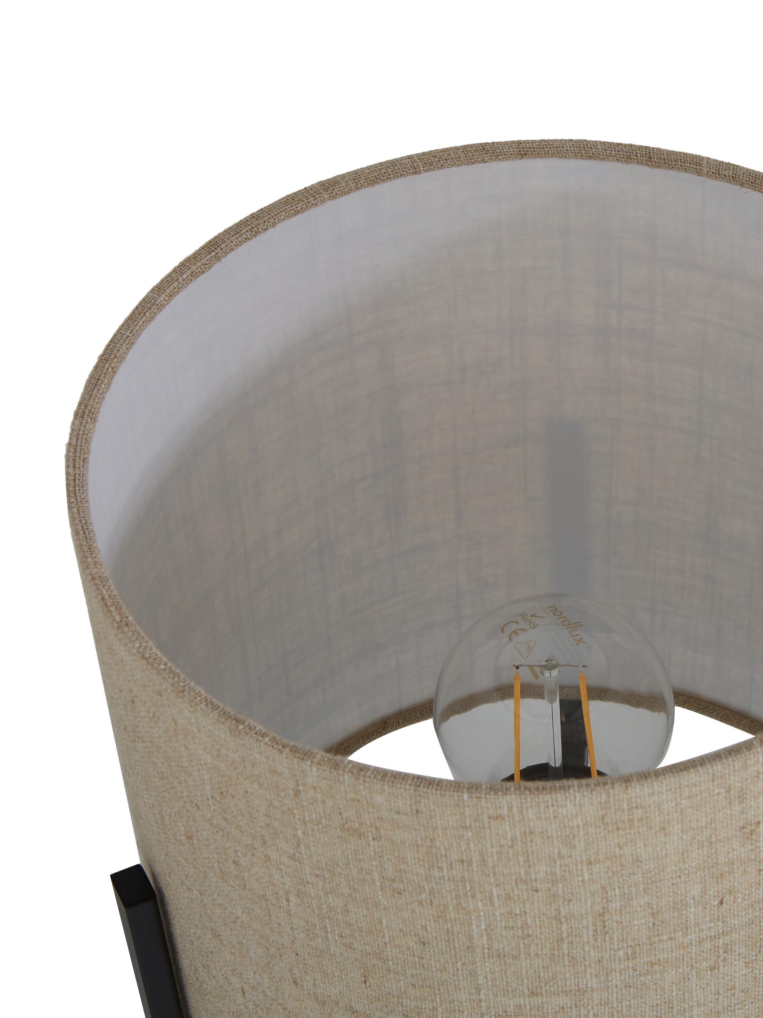 Tischlampe Piper aus Leinen, Lampenschirm: 85% Leinen, 15% Terylen, Lampenfuß: Metall, pulverbeschichtet, Beige, ∅ 22 x H 38 cm