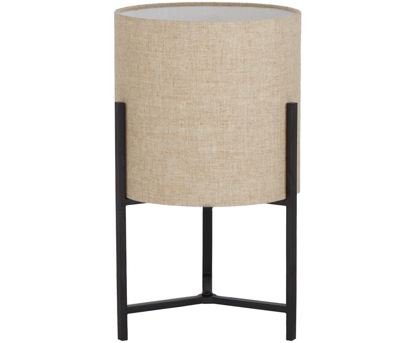 Lámpara de mesa Piper, Pantalla: 85%lino, 15%terileno, Cable: cubierto en tela, Beige, Ø 22 x Al 38 cm