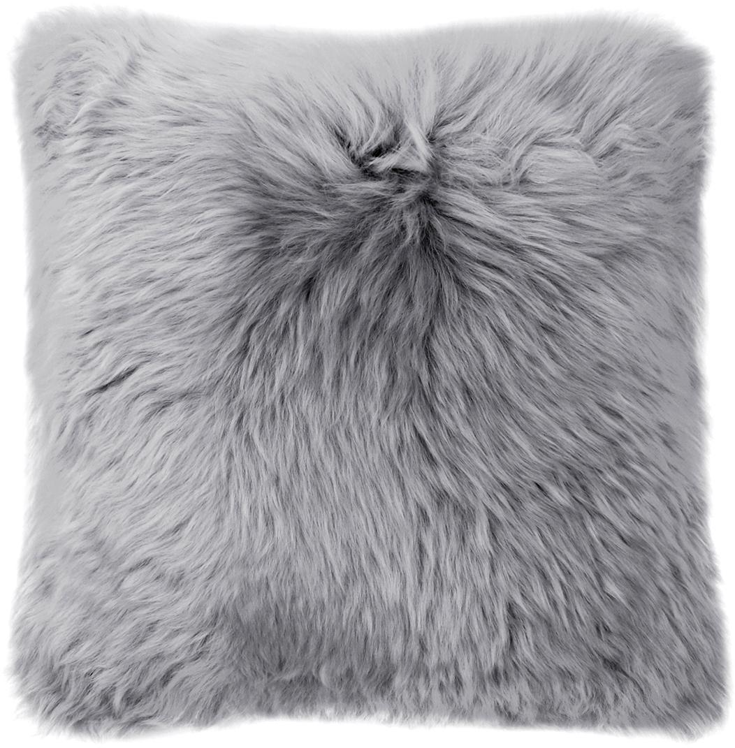Federa arredo in pelliccia di pecora Oslo, Retro: lino, Fronte: grigio chiaro Retro: grigio chiaro, Larg. 40 x Lung. 40 cm