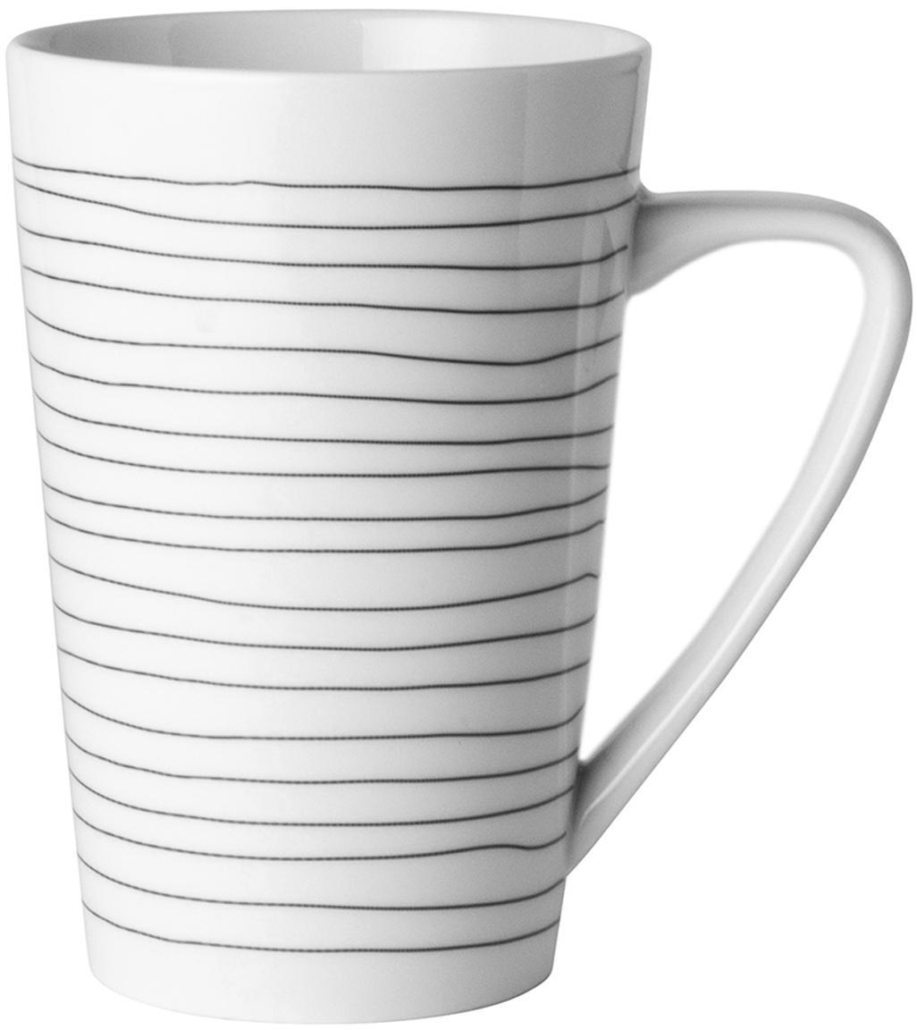 XL-Tassen Eris Loft mit Liniendekor, 4 Stück, Porzellan, Weiss, Schwarz, Ø 9 x H 13 cm
