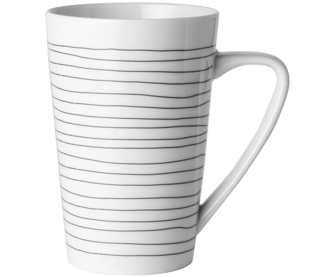 Tazas grandes ErisLoft, 4uds., Porcelana, Blanco, negro, Ø 9 x Al 13 cm