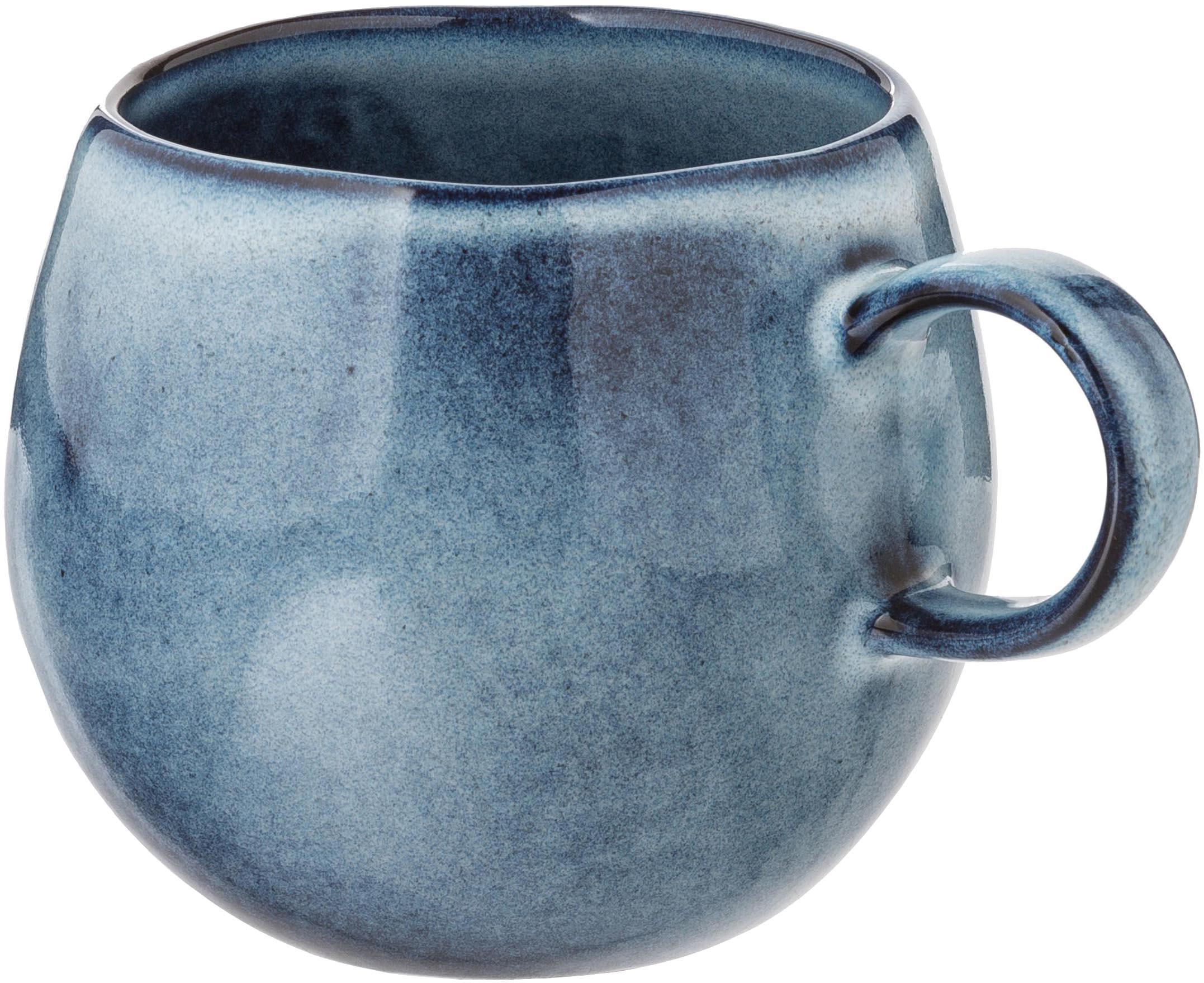 Taza artesanal Sandrine, Gres, Tonos azules, Ø 10 x Al 10 cm