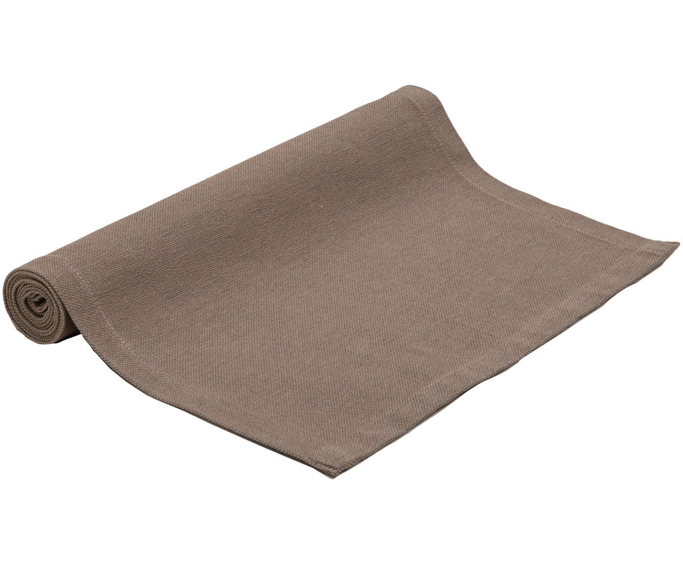 Camino de mesa Riva, 55%algodón, 45%poliéster, Gris pardo, An 40 x L 150 cm