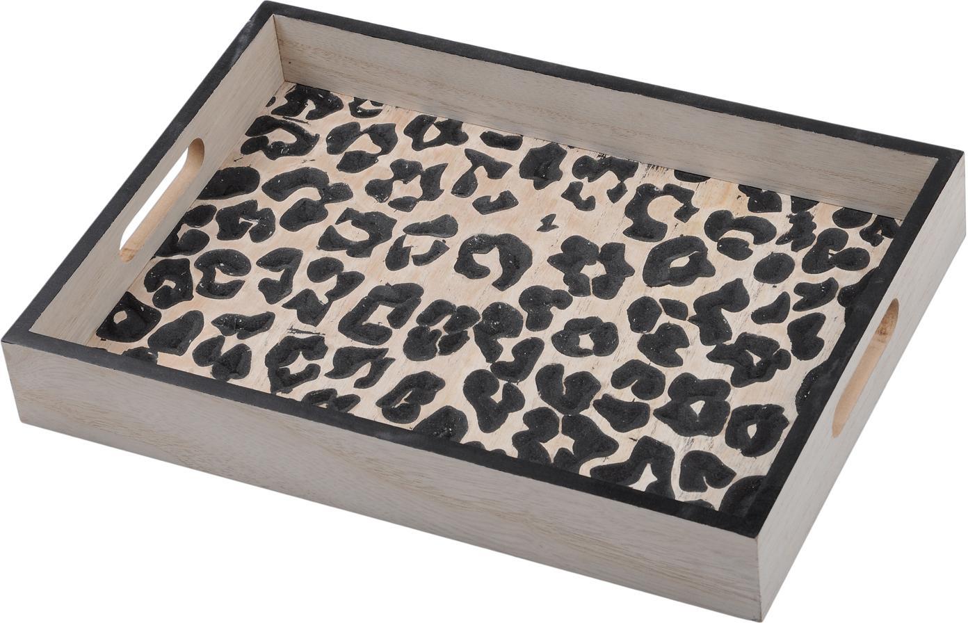 Serviertablett Leopard aus Holz, Mitteldichte Holzfaserplatte (MDF), Beige, Schwarz, B 35 x T 25 cm