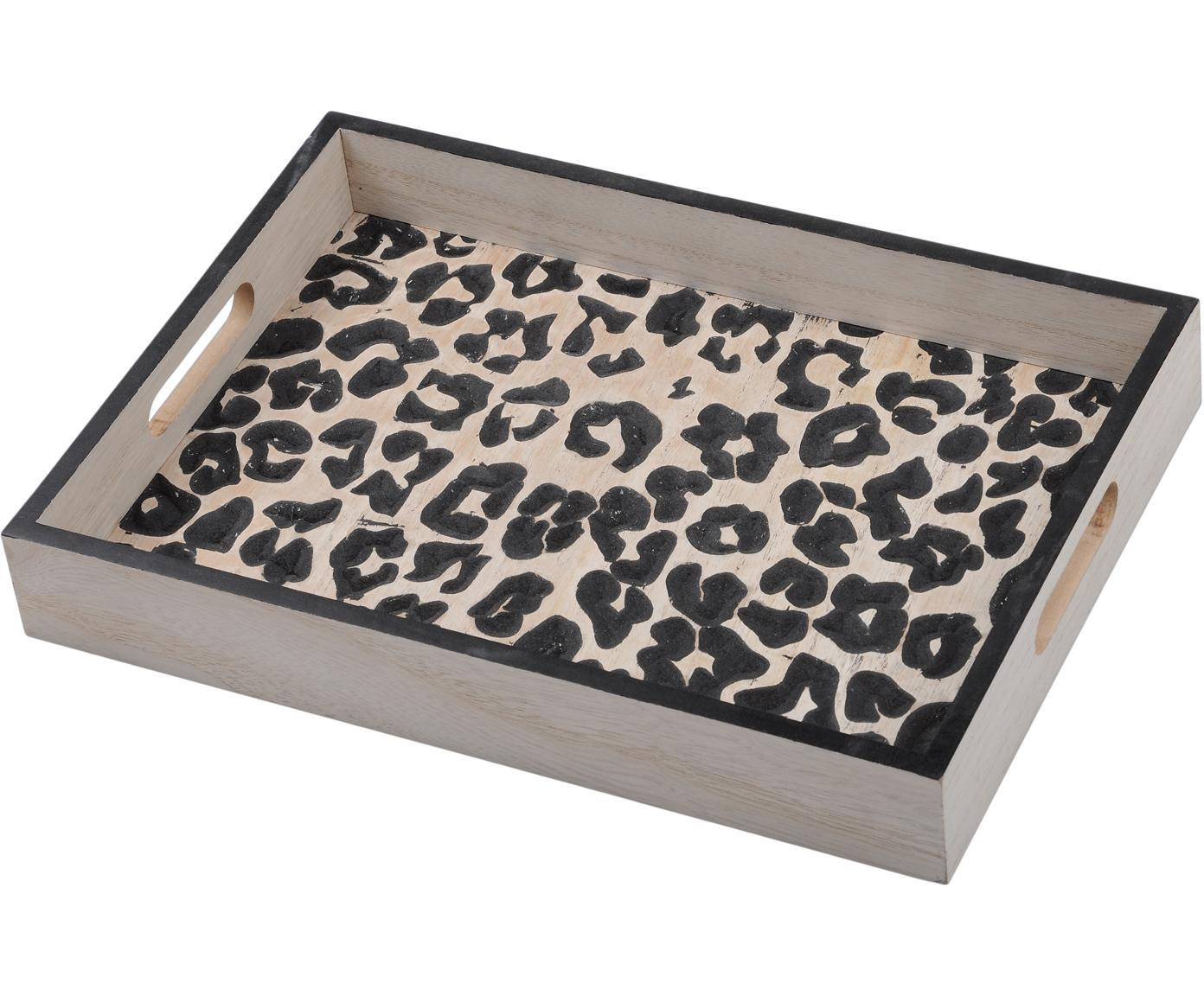 Vassoio in legno Leopard, Pannello di fibra a media densità (MDF), Beige, nero, Larg. 35 x Prof. 25 cm