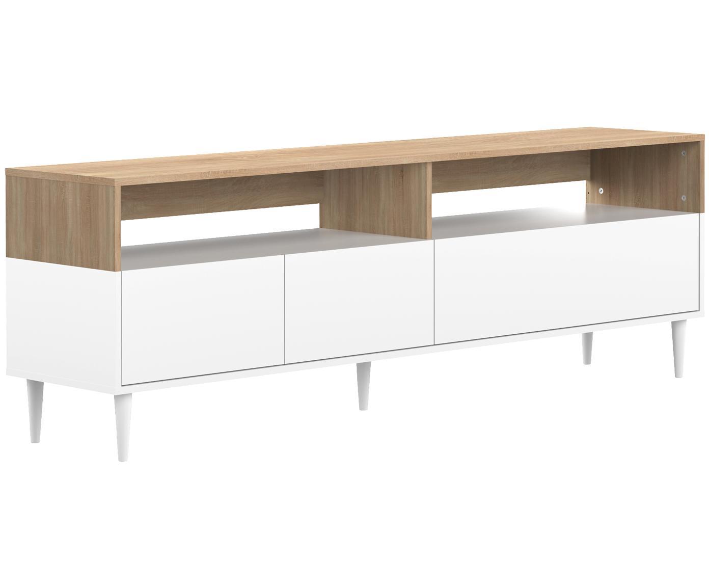 Mueble TV Horizon, estilo escandinavo, Estructura: aglomerado, recubierto de, Patas: madera de haya maciza, pi, Roble, blanco, An 180 x Al 61 cm