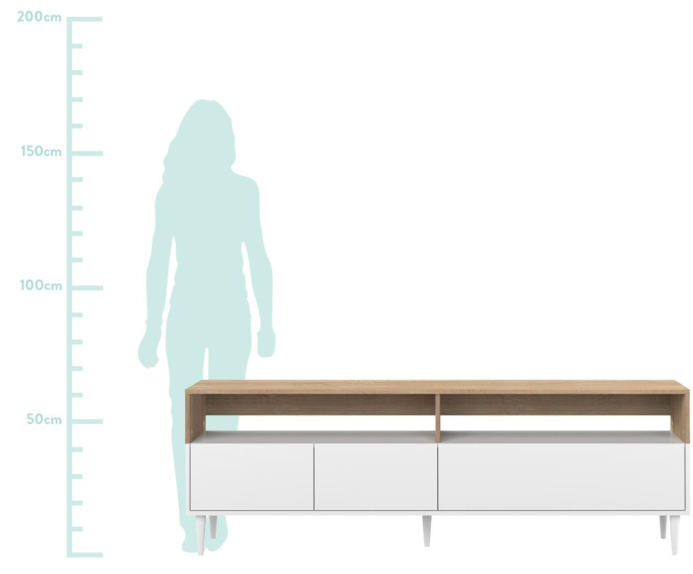 Szafka RTV scandi Horizon, Korpus: płyta wiórowa pokryta mel, Nogi: lite drewno bukowe, lakie, Drewno dębowe, biały, S 180 x W 61 cm