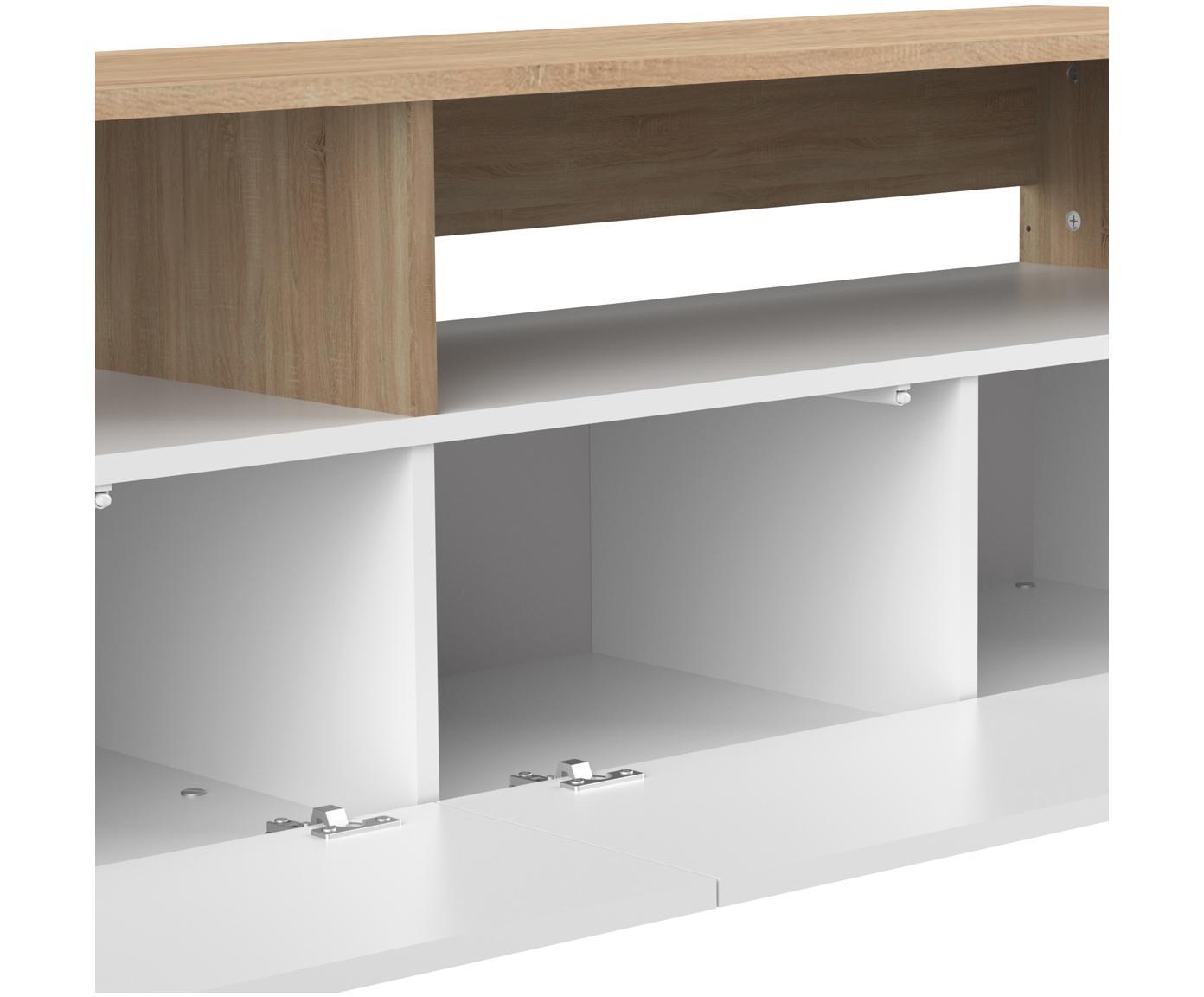 Tv-meubel Horizon, Frame: melamine gecoate spaanpla, Poten: gelakt massief beukenhout, Eikenhoutkleurig, wit, 180 x 61 cm