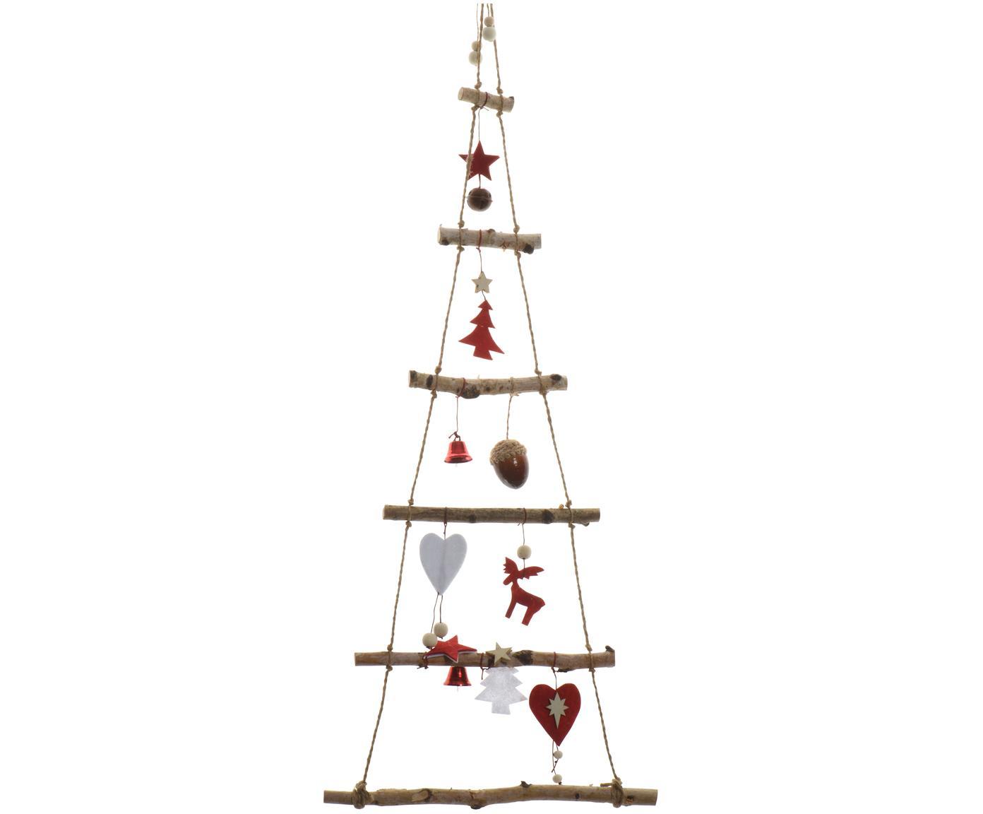 Wand-Objekt Rinde, Birkenholz, Birkenholz, Rot, 34 x 100 cm