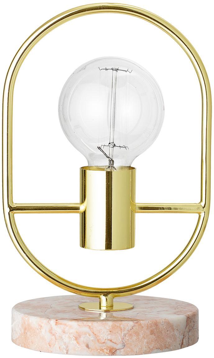 Marmeren tafellamp Emilia, Lampvoet: marmer, Frame: gelakt staal, Roze, Ø 17 x H 30 cm