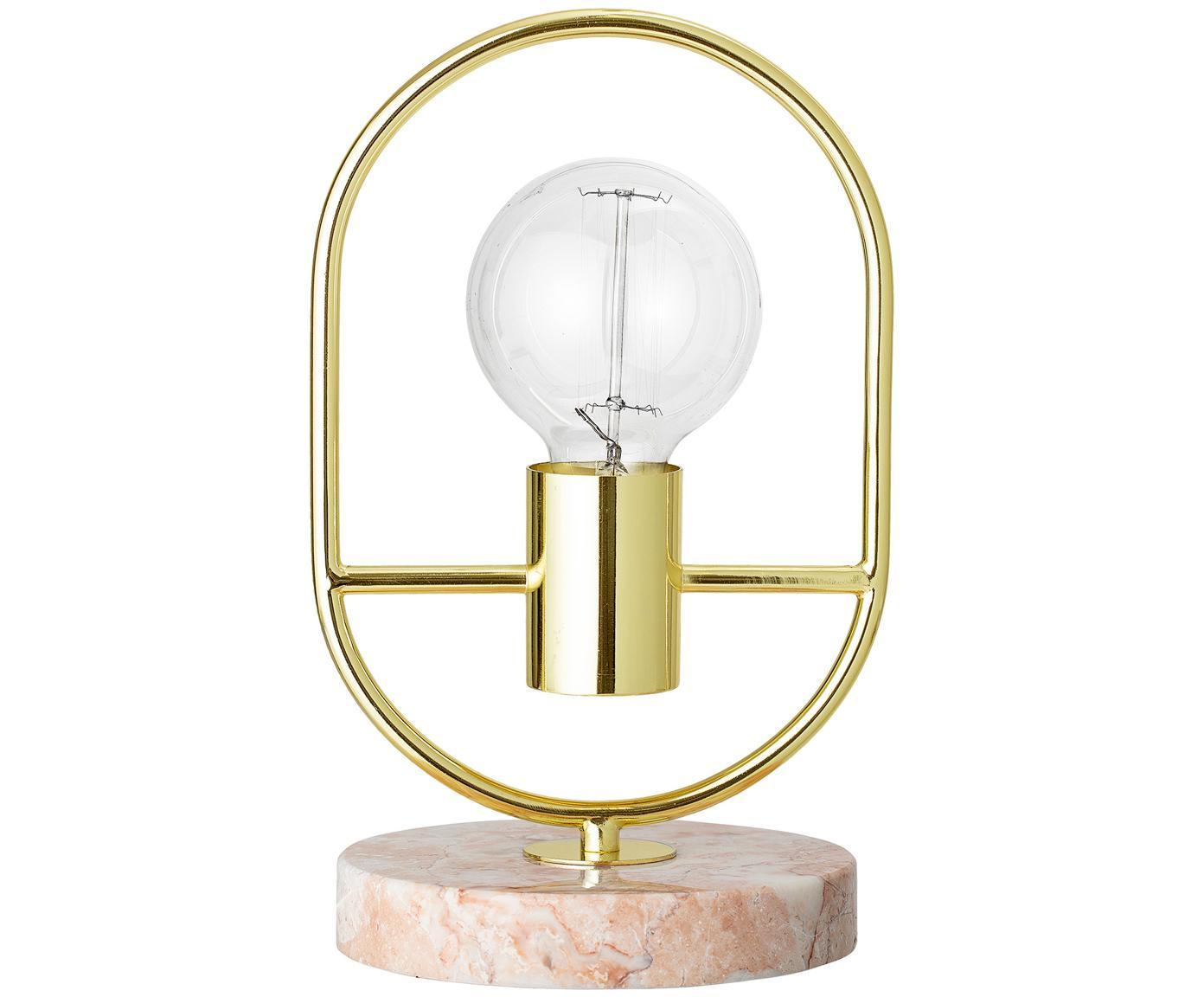 Marmor-Tischleuchte Emilia, Lampenfuß: Marmor, Gestell: Stahl, lackiert, Rosa, Ø 17 x H 30 cm