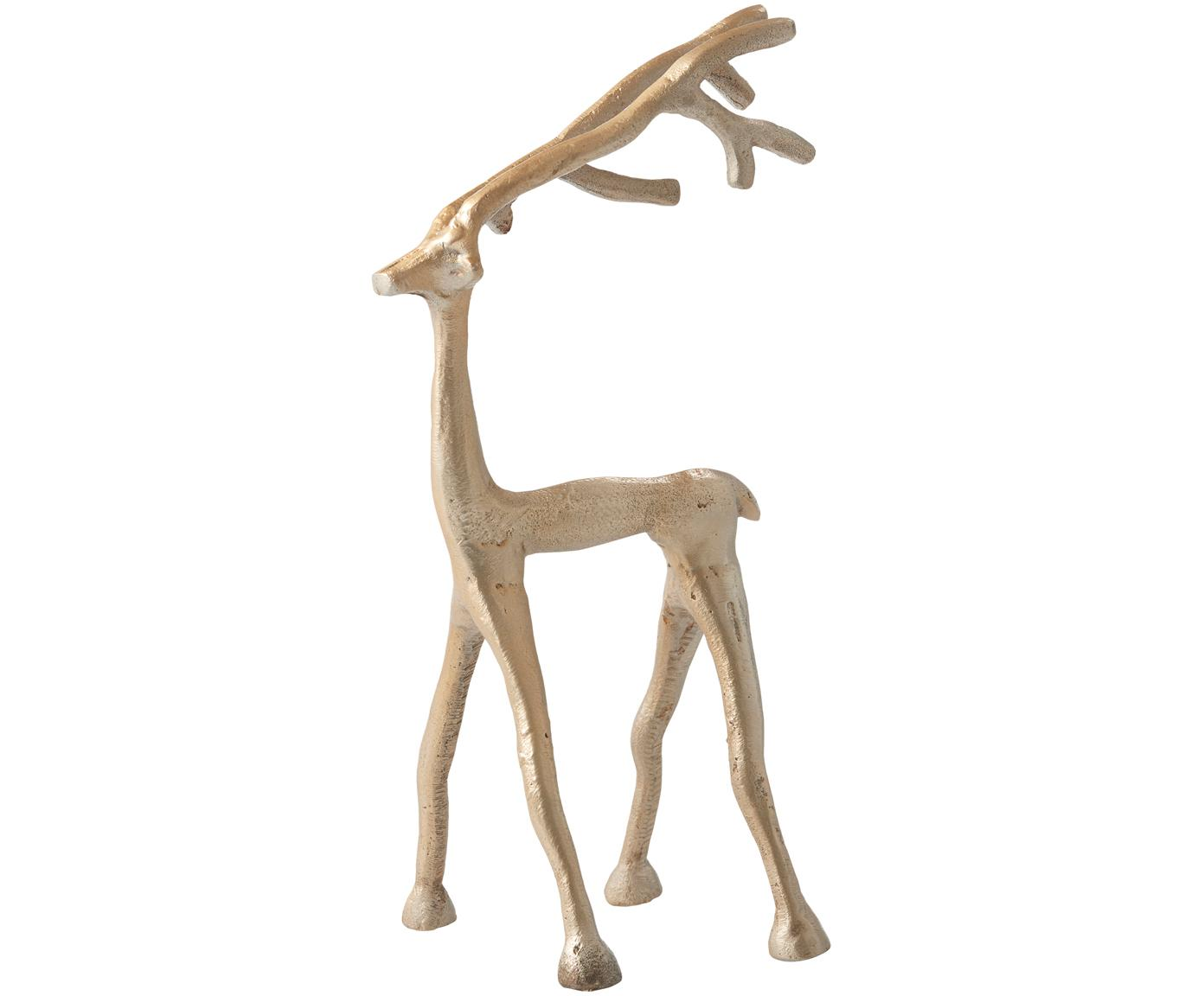 Oggetto decorativo Marley Reindeer, Alluminio rivestito, Ottonato, Larg. 14 x Alt. 27 cm
