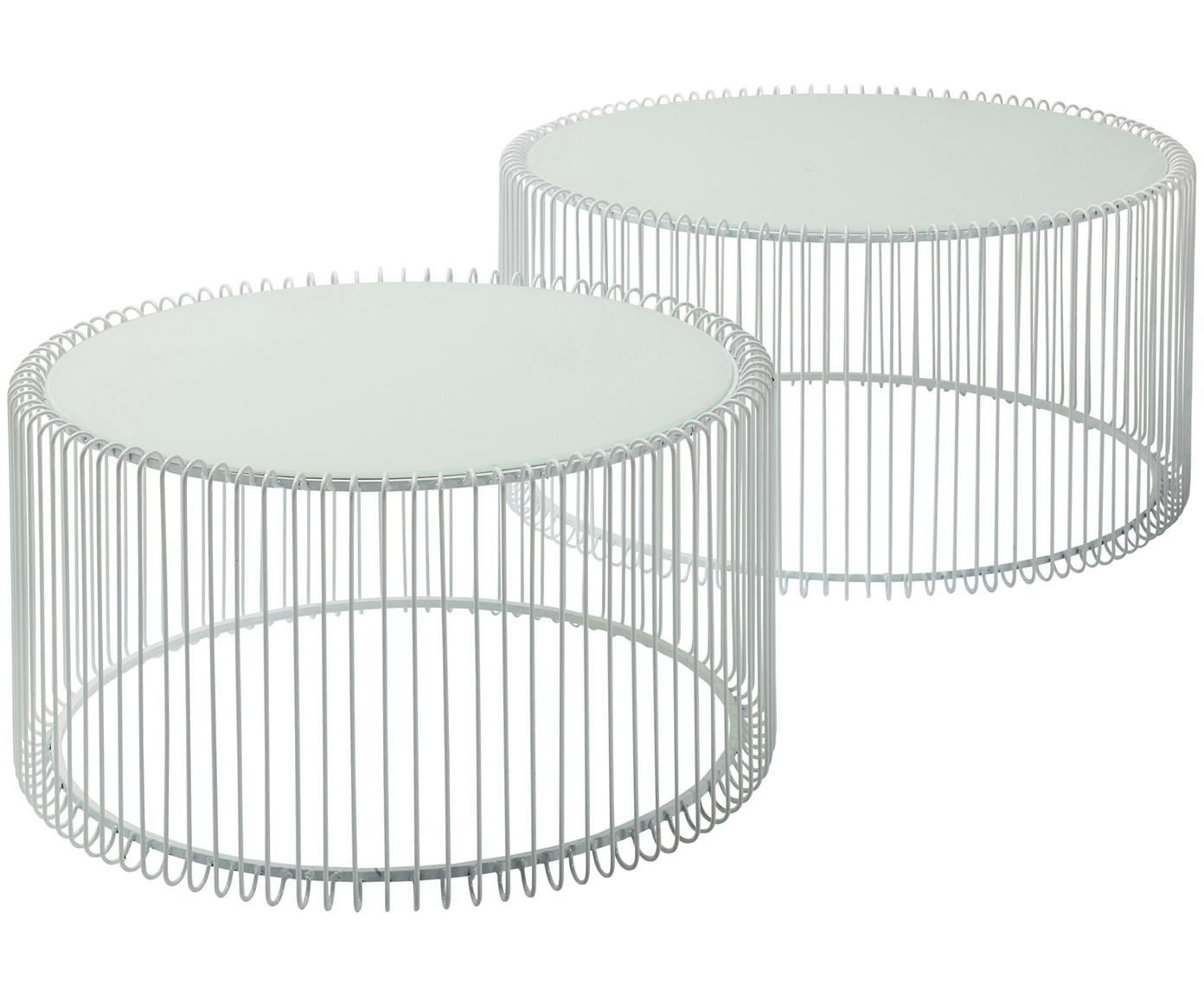 Komplet stolików kawowych z metalu ze szklanym blatem Wire, 2 elem., Stelaż: stal malowana proszkowo, Blat: szkło hartowane, Biały, Różne rozmiary