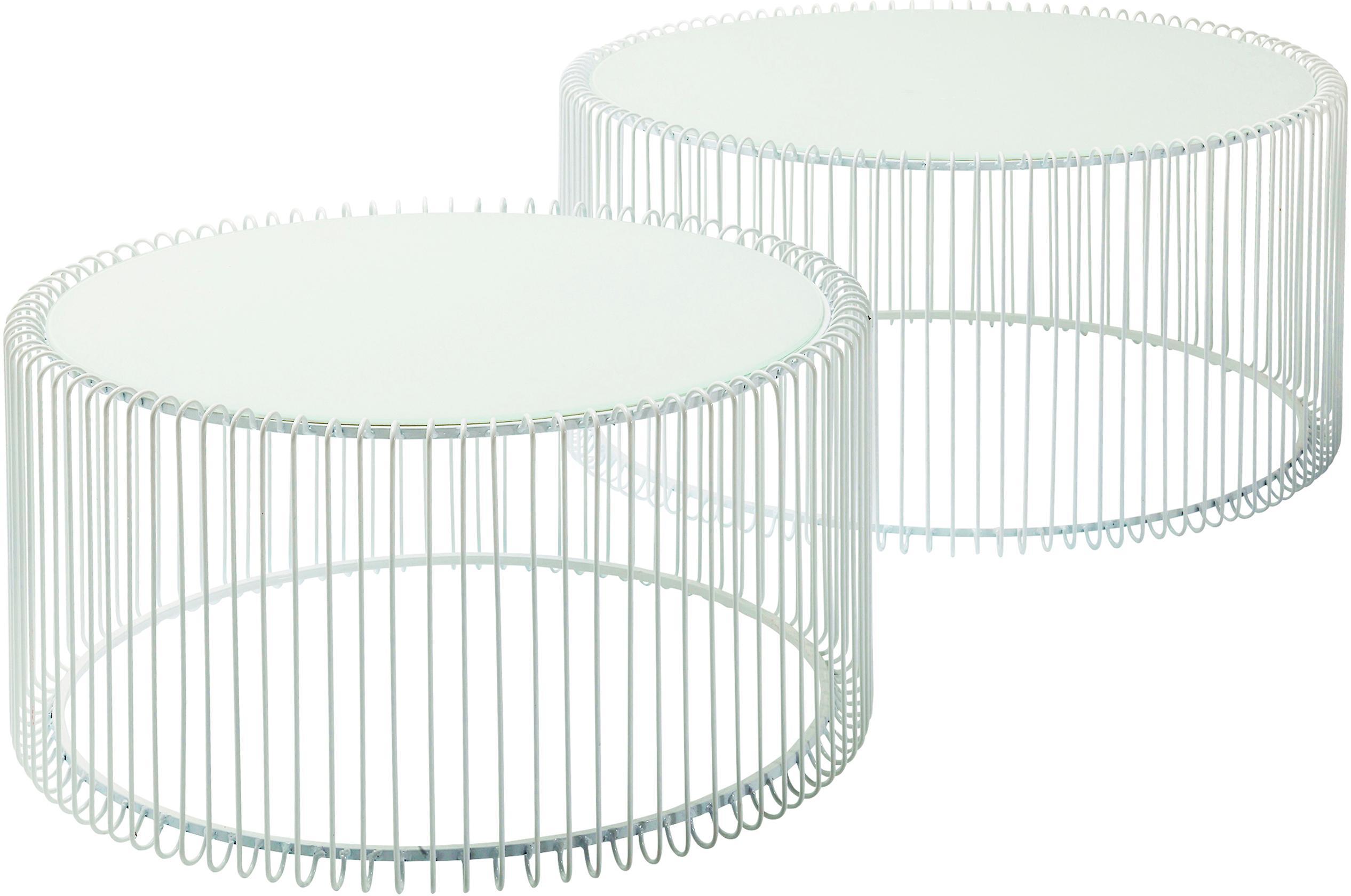 Komplet stolików kawowych z metalu ze szklanym blatem Wire, 2 elem., Stelaż: metal malowany proszkowo, Blat: szkło hartowane, foliowan, Biały, Komplet z różnymi rozmiarami