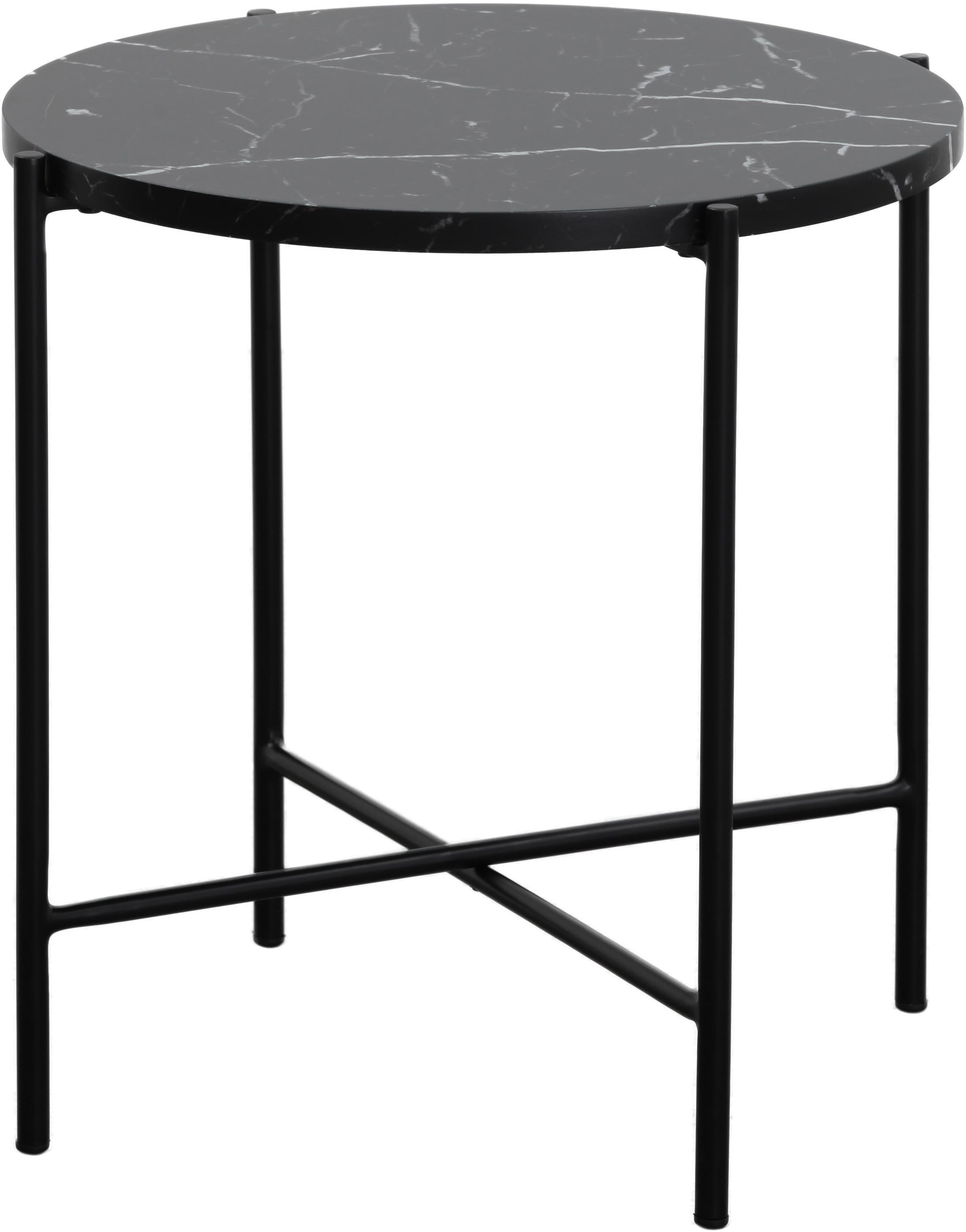 Bijzettafel Fria in marmerlook, Tafelblad: MDF, gecoat met gelakt pa, Frame: gepoedercoat metaal, Tafelblad: mat zwart, gemarmerd. Frame: mat zwart, Ø 45 x H 46 cm