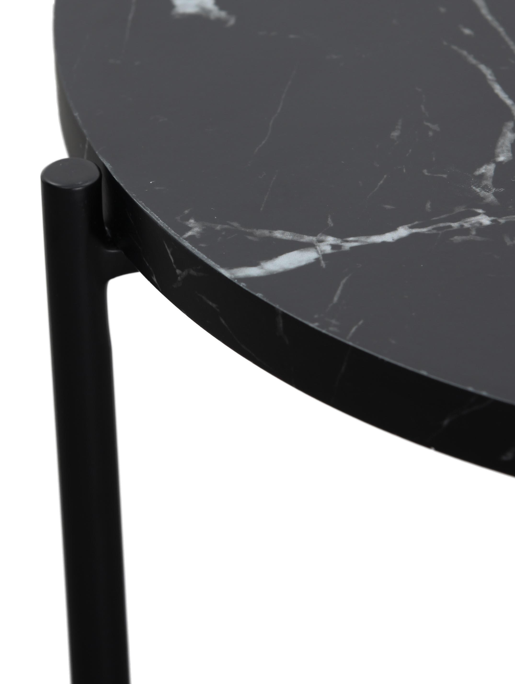 Beistelltisch Fria in Marmor-Optik, Tischplatte: Mitteldichte Holzfaserpla, Gestell: Metall, pulverbeschichtet, Tischplatte: Schwarz, marmoriert, matt Gestell: Schwarz, matt, Ø 45 x H 46 cm