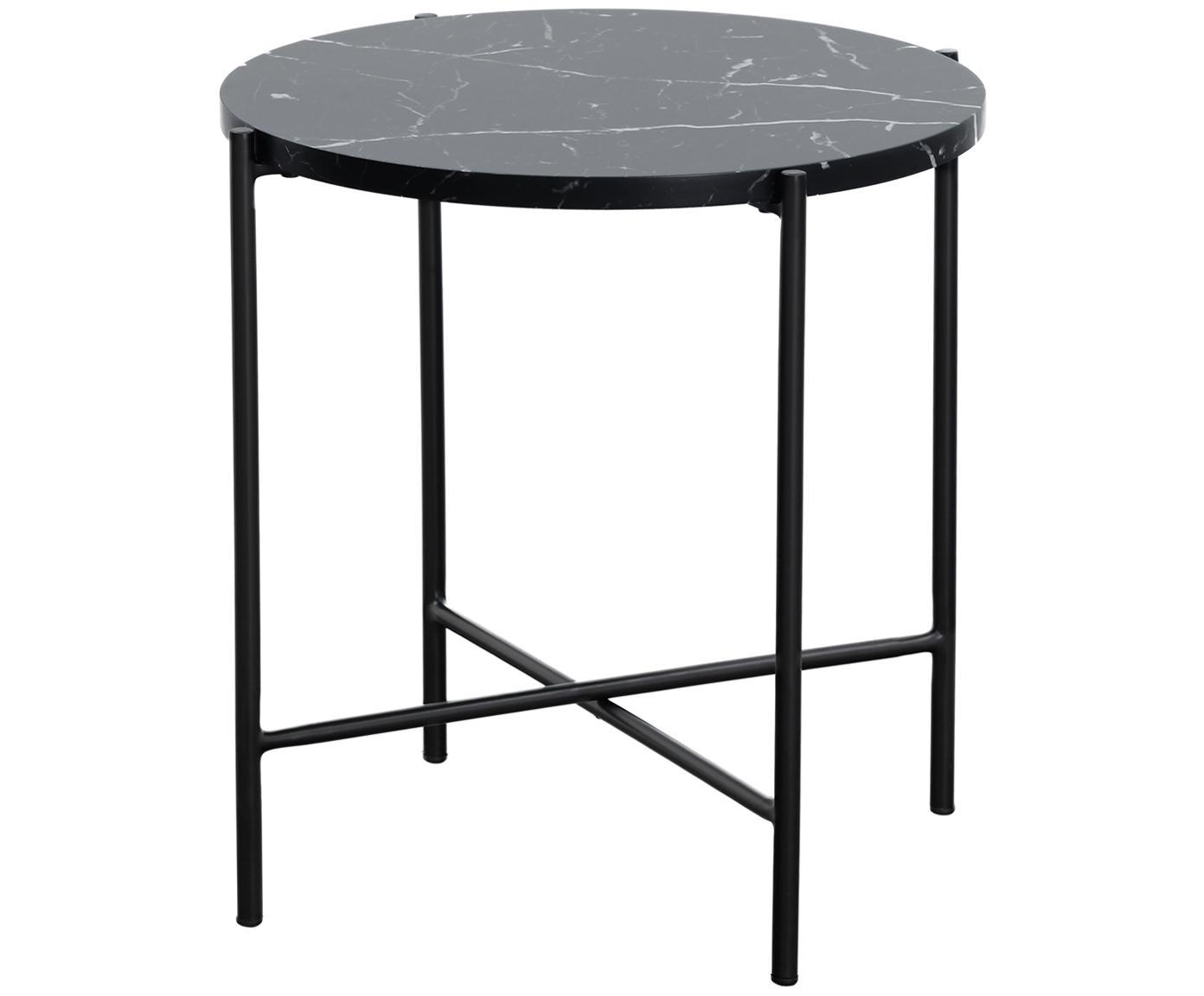 Tavolino con piano effetto marmo Fria, Piano d'appoggio: pannello di fibra a media, Struttura: metallo verniciato a polv, Piano d'appoggio: nero marmorizzato opaco Struttura: nero opaco, Ø 45 x Alt. 46 cm