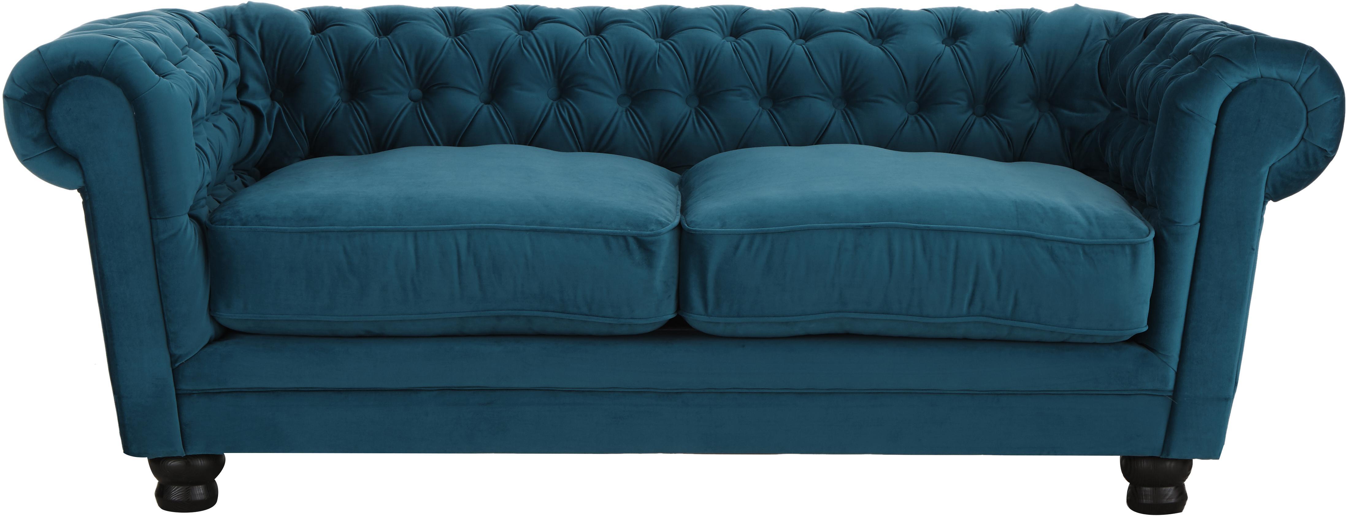 Chesterfield Samt-Sofa Sally (3-Sitzer), Bezug: 100% Polyester, Beine: Massivholz; Buche, lackie, Rahmen: Holzgrundgestell, Samt Petrol, 203 x 79 cm