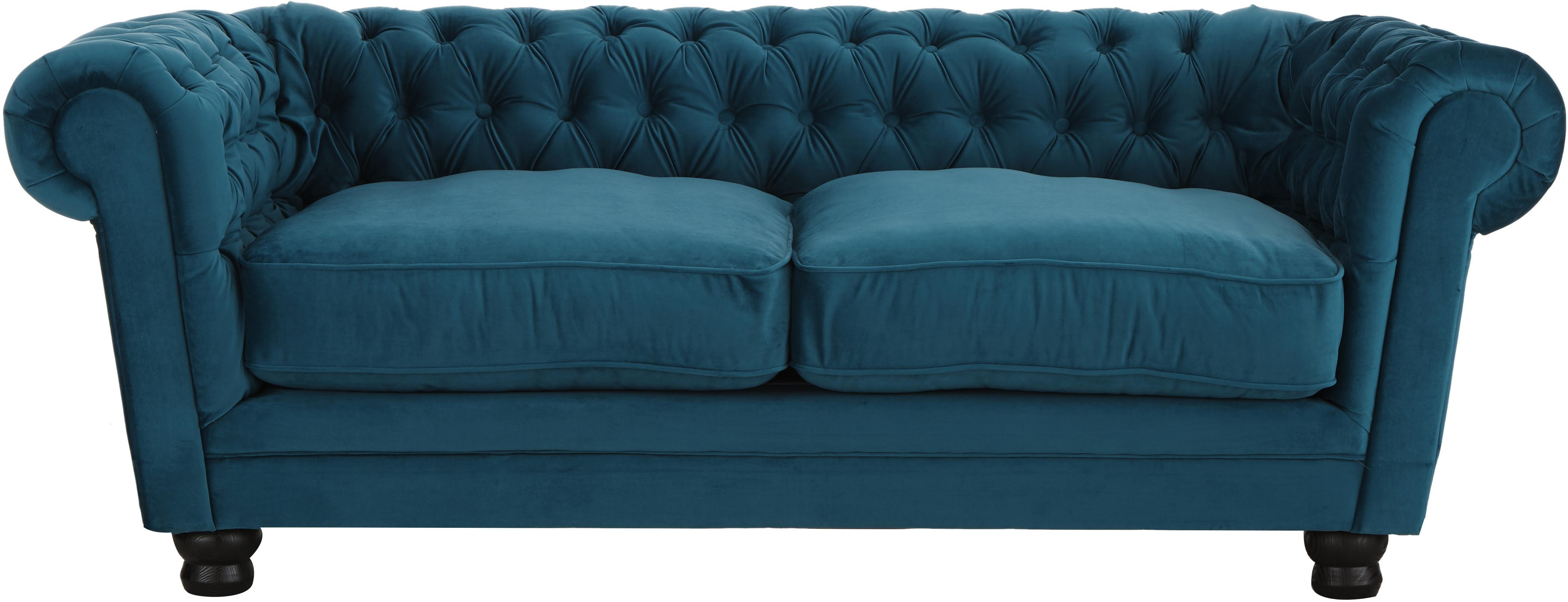 Fluwelen chesterfield bank Sally (2-zits), Bekleding: 100% polyester, Poten: massief hout, gelakt beuk, Frame: houten basisframe, Fluweel petrol, 203 x 79 cm