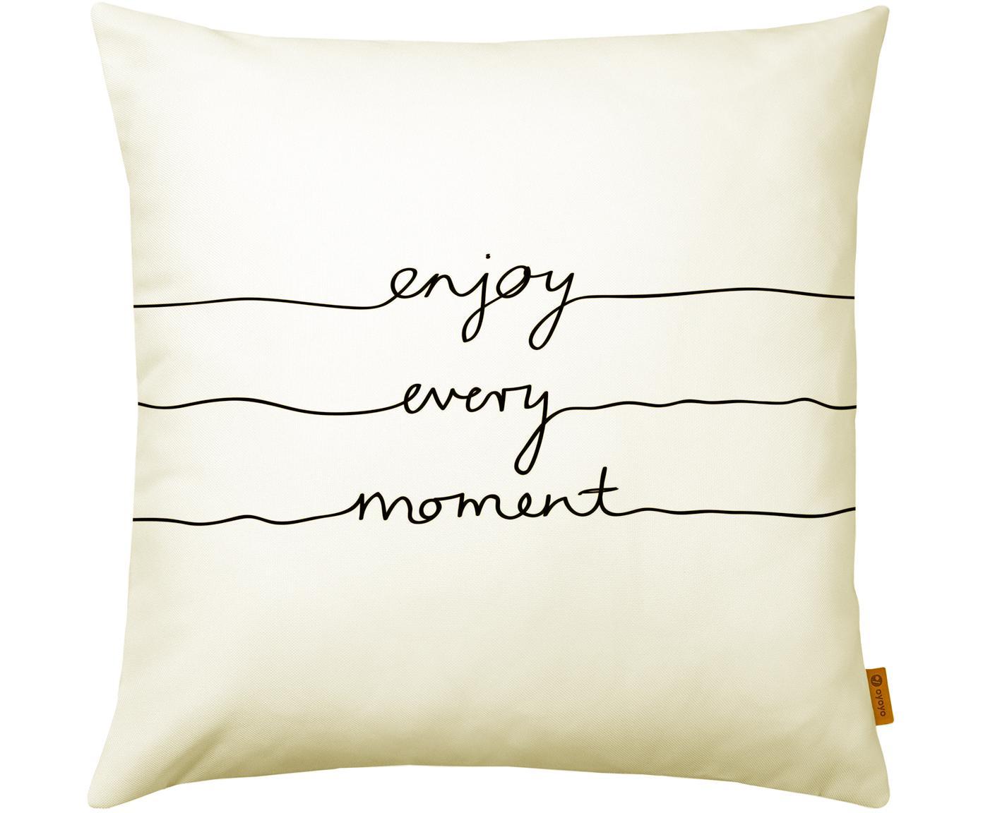 Funda de cojín Enjoy Every Moment, Poliéster, Blanco crema, negro, An 40 x L 40 cm