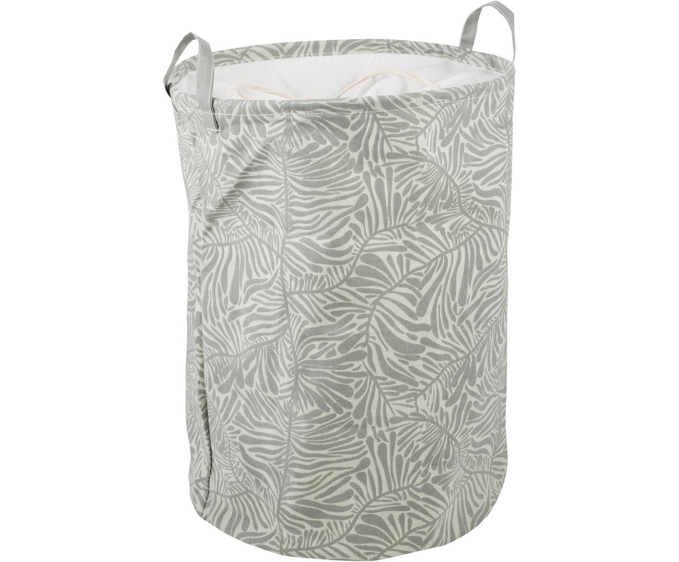 Cesta Corinne, 65%algodón, 35%poliéster, Blanco, verde claro, Ø 37 x Al 52 cm