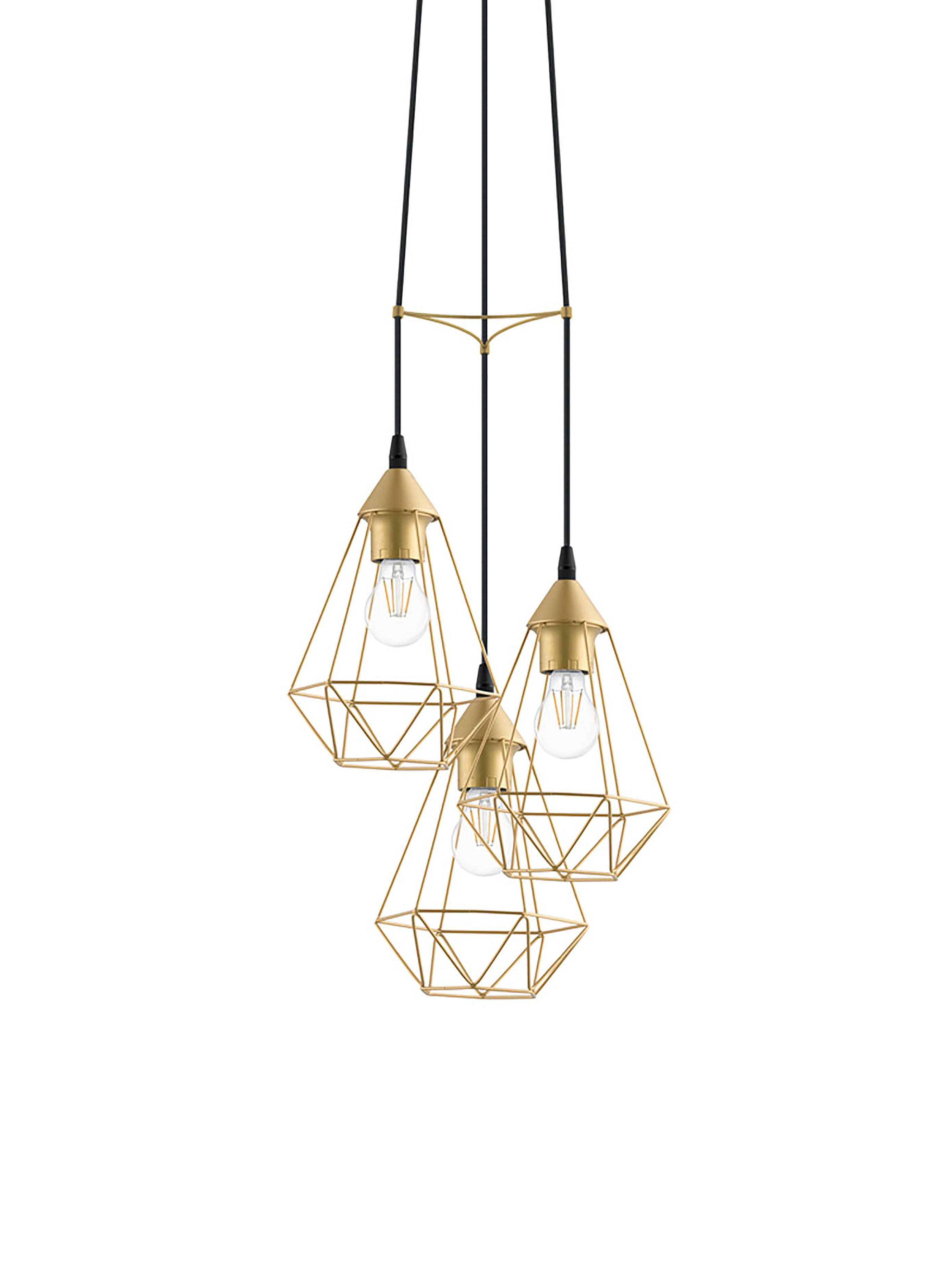Lámpara de techo Kyle, Anclaje: metal cepillado, Cable: cubierto en tela, Dorado, Ø 36 cm