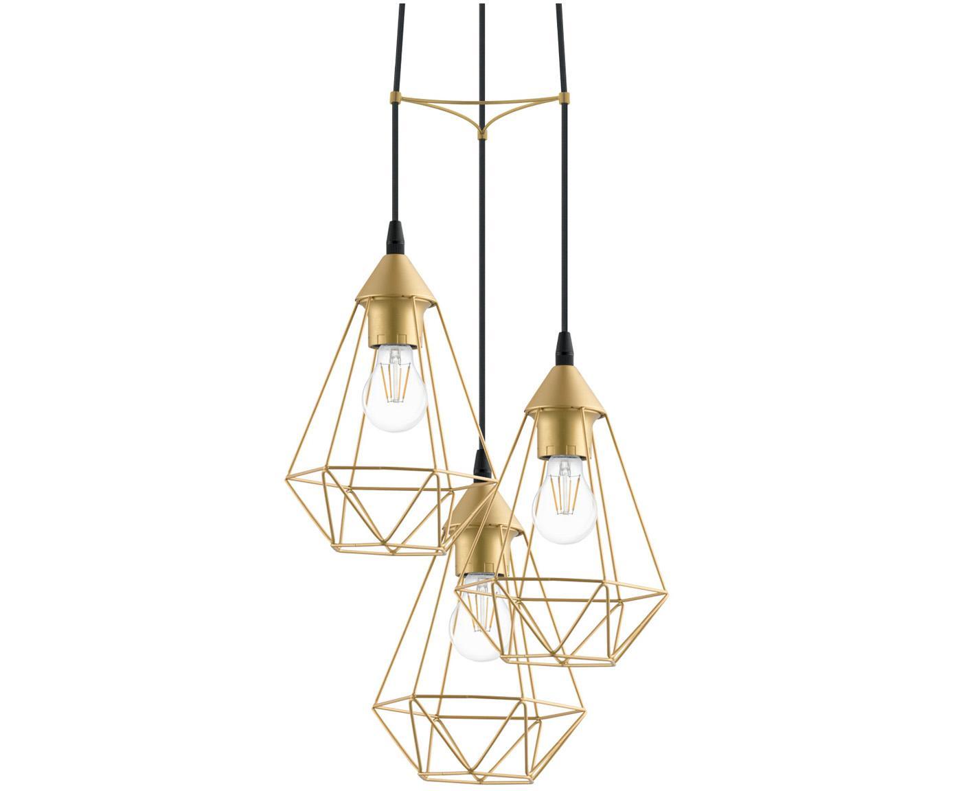 Hanglamp Kyle, Baldakijn: geborsteld metaal, Goudkleurig, Ø 36 cm