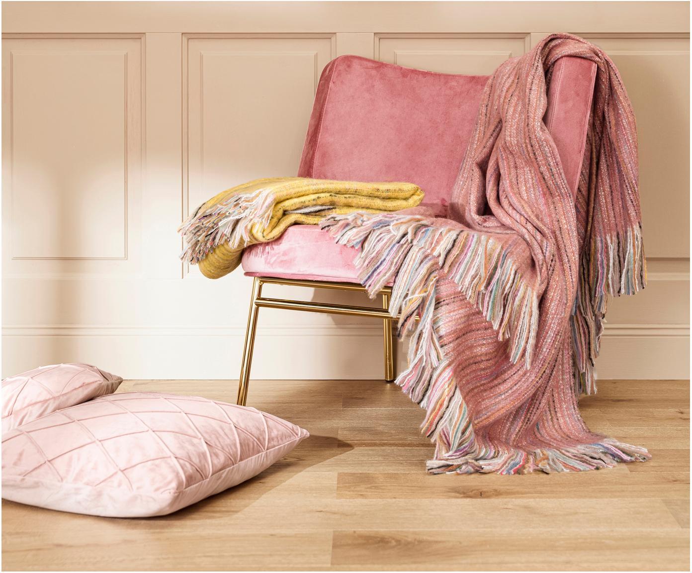 Pled z frędzlami Ayana, Akryl, Brudny różowy, wielobarwny, S 130 x D 190 cm