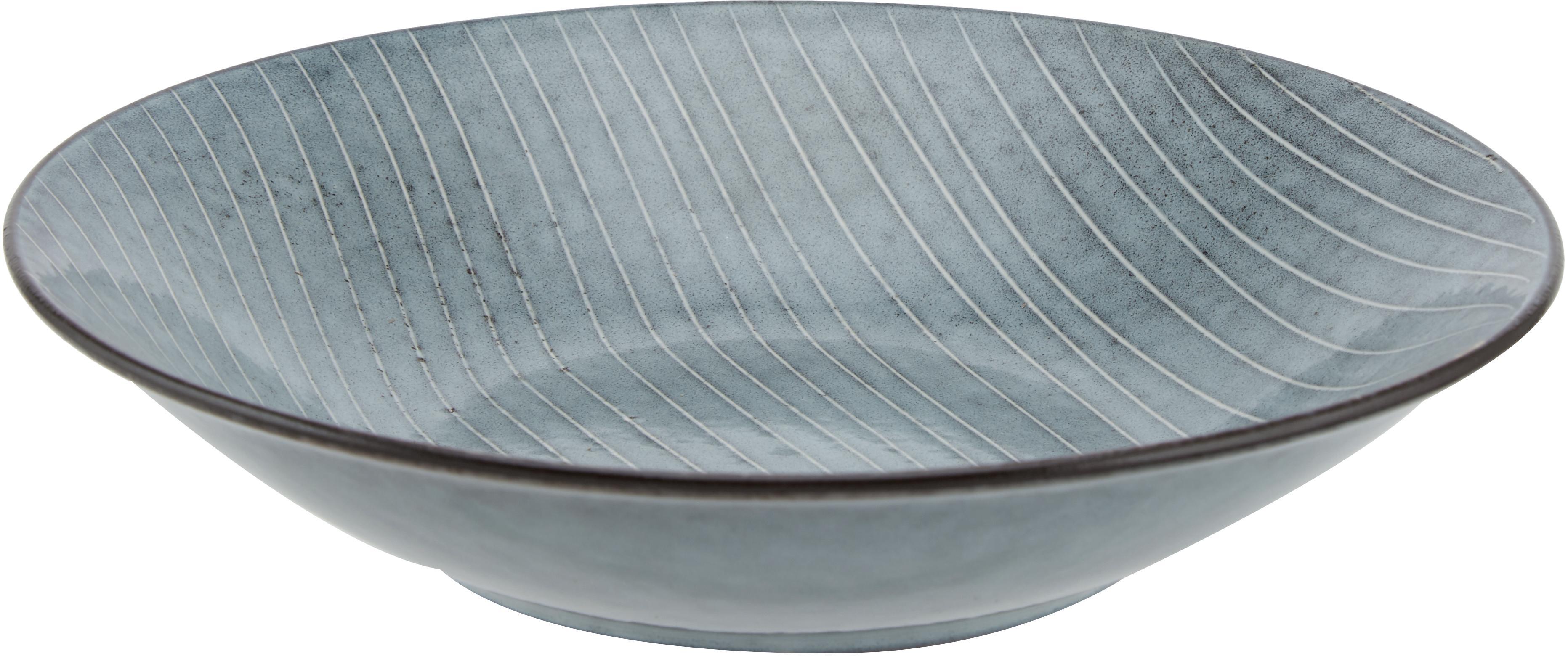 Handgemachte Suppenteller Nordic Sea aus Steingut, 4 Stück, Steingut, Grau- und Blautöne, Ø 22 x H 5 cm