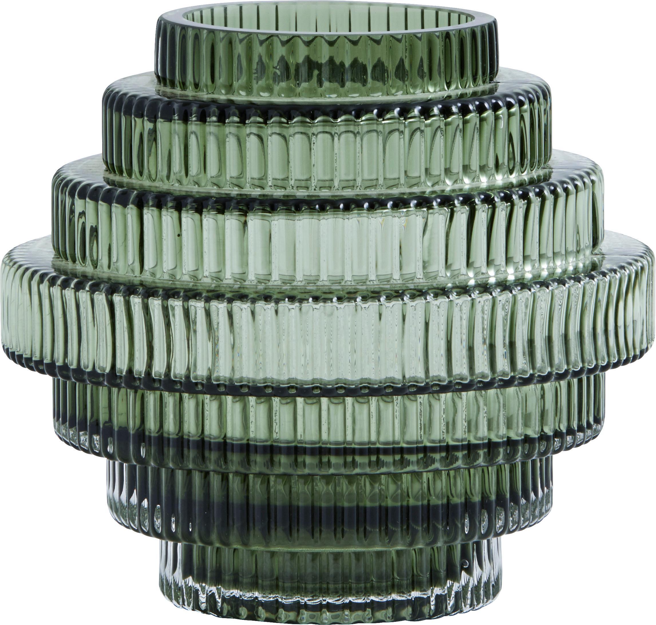 Jarrón de vidrio Rilla, Vidrio, Verde, Ø 16 x Al 16 cm