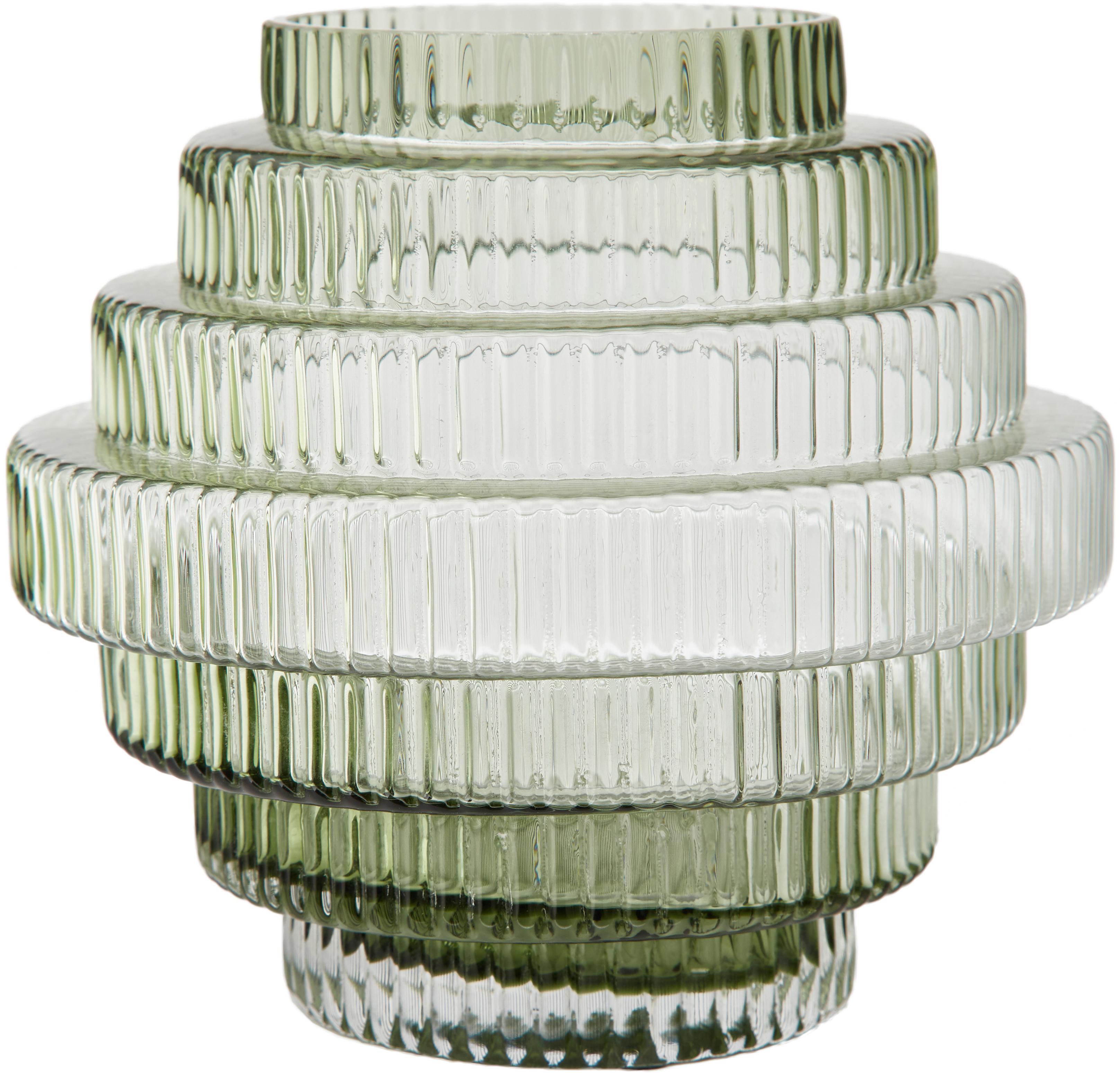Transparante glazen vaas Rilla met een groene glans, Glas, Groen, Ø 16 x H 16 cm